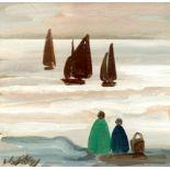‡Markey Robinson (Irish 1918-1999) Shoreline Signed Markey (lower left) Oil on board 19.4 x 19.4cm