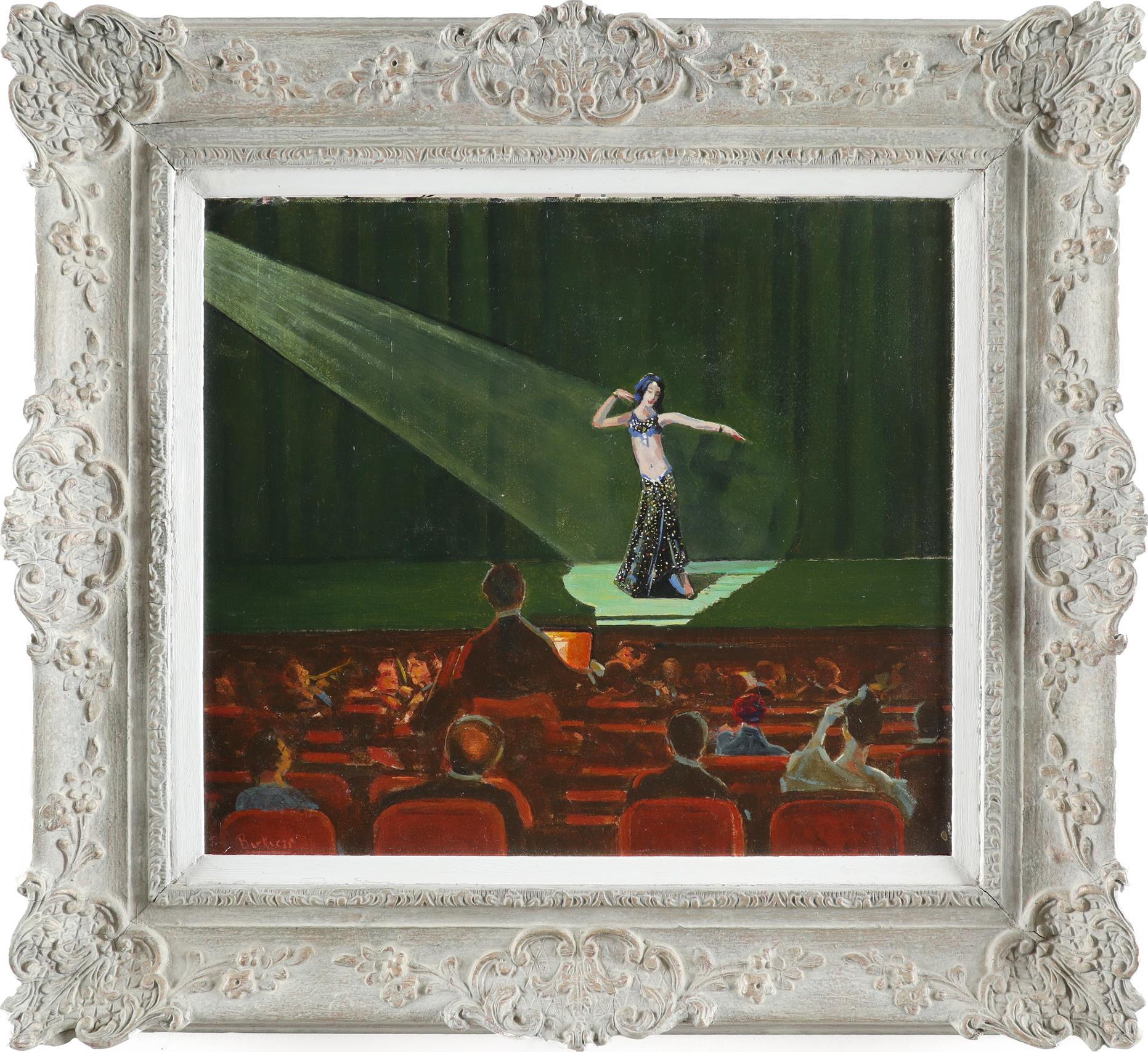 ‡Pilade Bertieri (Italian 1874-1965) Dancer in the spotlight Signed Bertieri (lower left) Oil on - Image 2 of 3