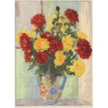 ‡Edgar Holloway (1914-2008) Still life with chrysanthemums Signed and inscribed Chrysanthemums Edgar