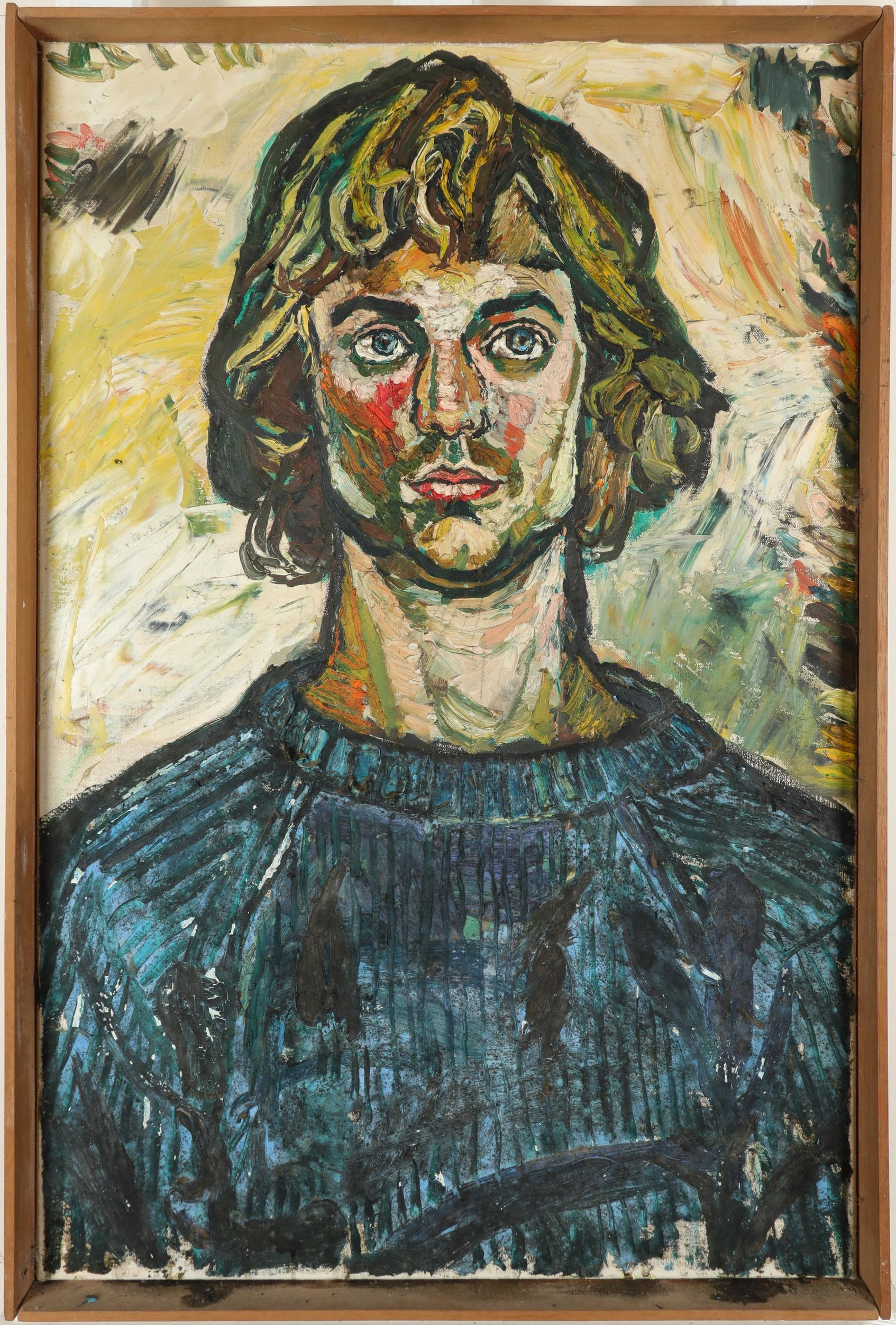 ‡John Bratby RA (1928-1992) Portrait of a young man in a blue jumper Indistinctly inscribed 2* ( - Image 2 of 3