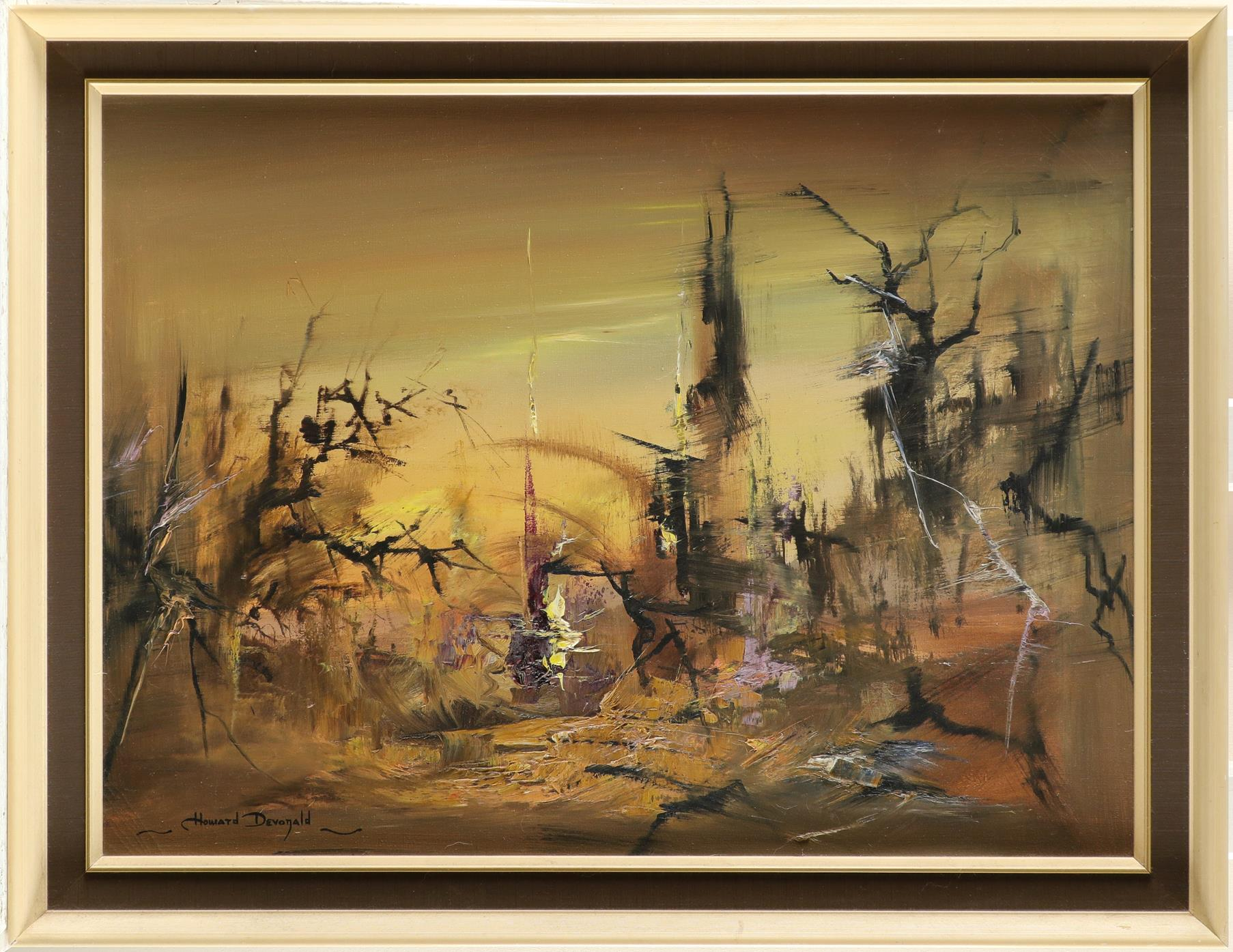 ‡Howard Devonald (20th Century) Landscape at dawn Signed Howard Devonald (lower left) Oil on - Image 2 of 3