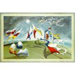 ‡John Tunnard ARA (1900-1971) Holiday Coloured lithograph, 1974, printed at The Baynard Press for