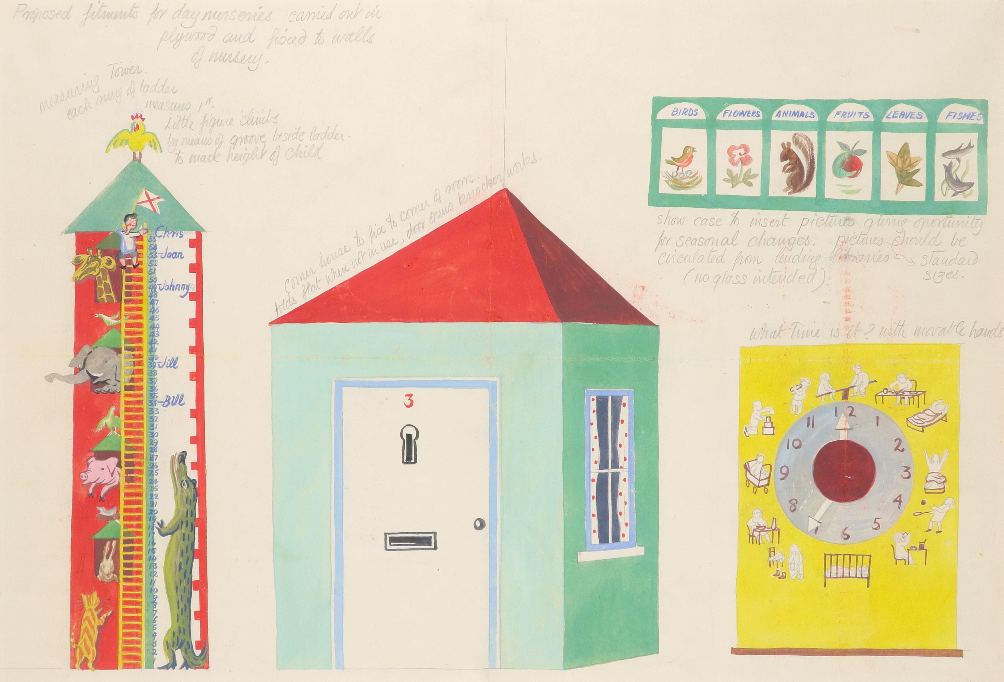 ‡Mary Adshead (1904-1995) Designs for nursery fitments Inscribed throughout with explanatory notes