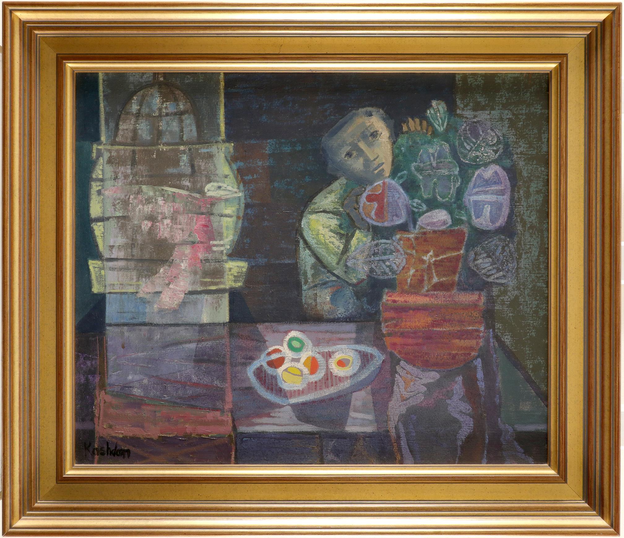 ‡John Kashdan (1917-2001) Boy with Bird Signed Kashdan (lower left) Oil on canvas, c.1949 51.3 x - Image 2 of 3