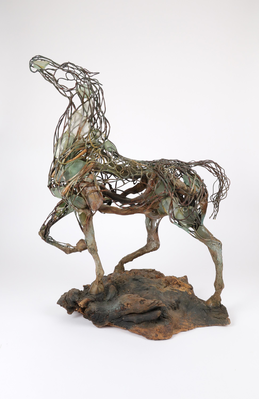 ‡Heather Jansch (b.1948) Neptune Signed Heather Jansch (to inside of back left leg) Copper wire,