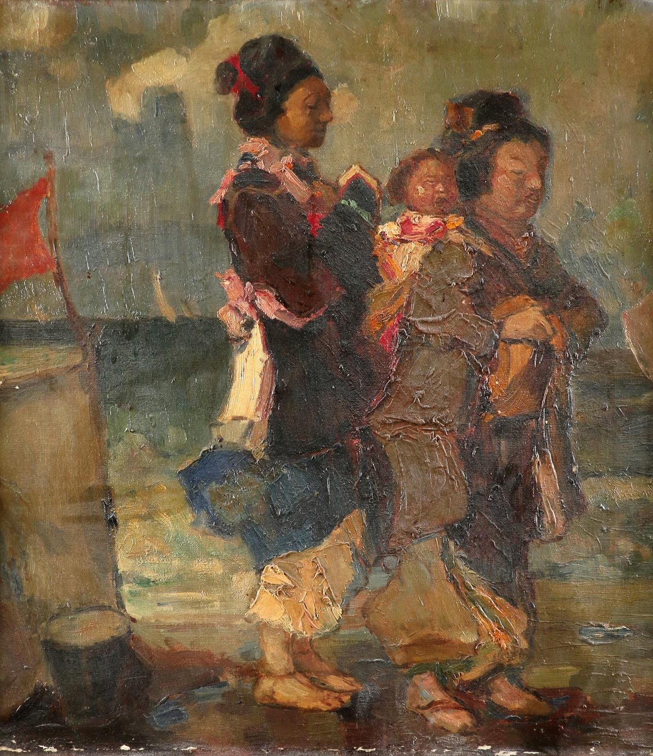 Continental School 20th Century Two women and a child on a beach Oil on canvas 52.8 x 48cm