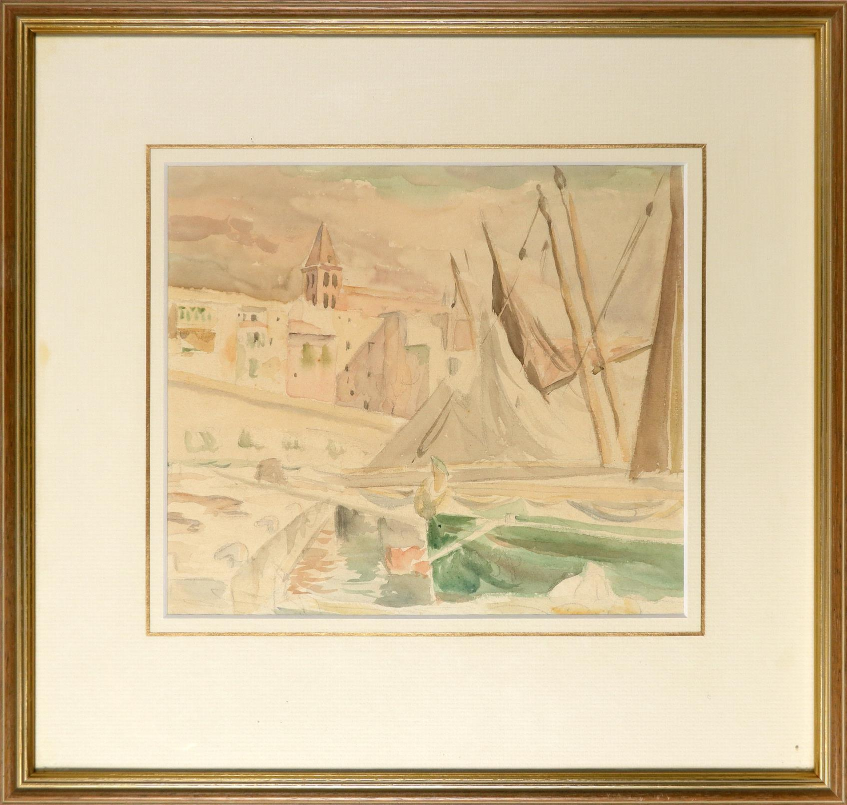 ‡Bernard Adeney (1878-1966) Boats by the quay Watercolour and pencil 22.1 x 25.8cm Together with - Image 3 of 6
