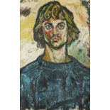 ‡John Bratby RA (1928-1992) Portrait of a young man in a blue jumper Indistinctly inscribed 2* (