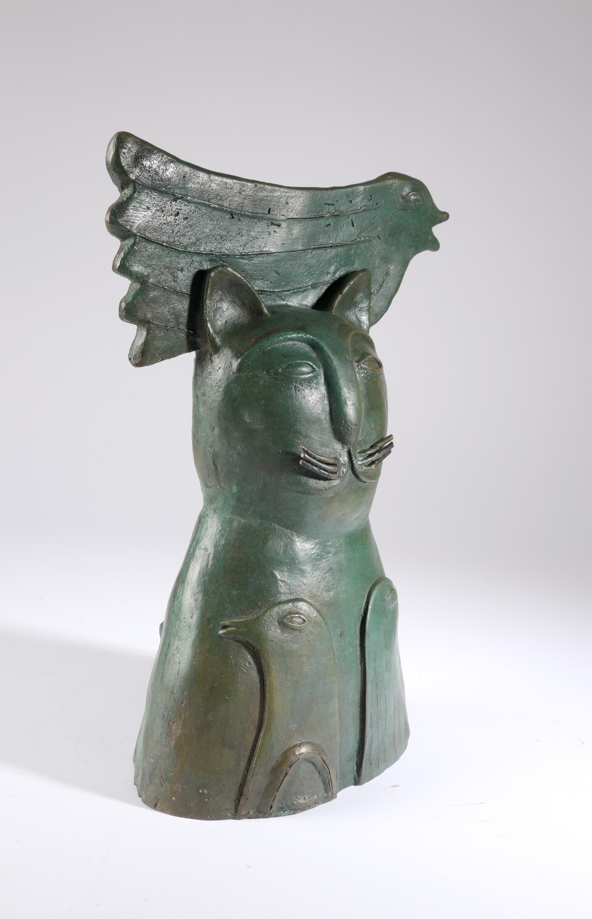 Jesus Tellosa (Mexican 20th Century) Bronze cat and three doves Bronze with green patination 35cm - Image 2 of 5