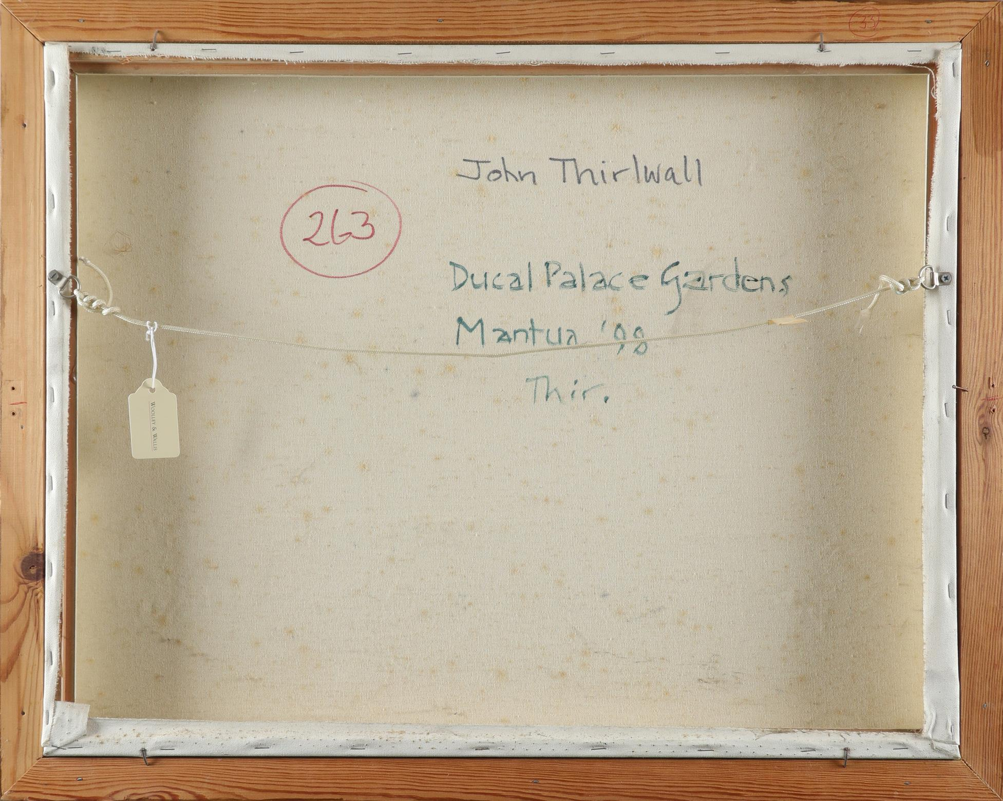 ‡John Thirlwall (b.1943) Ducal Palace Gardens, Mantua Signed and dated Thir '98 (lower left), and - Image 3 of 3