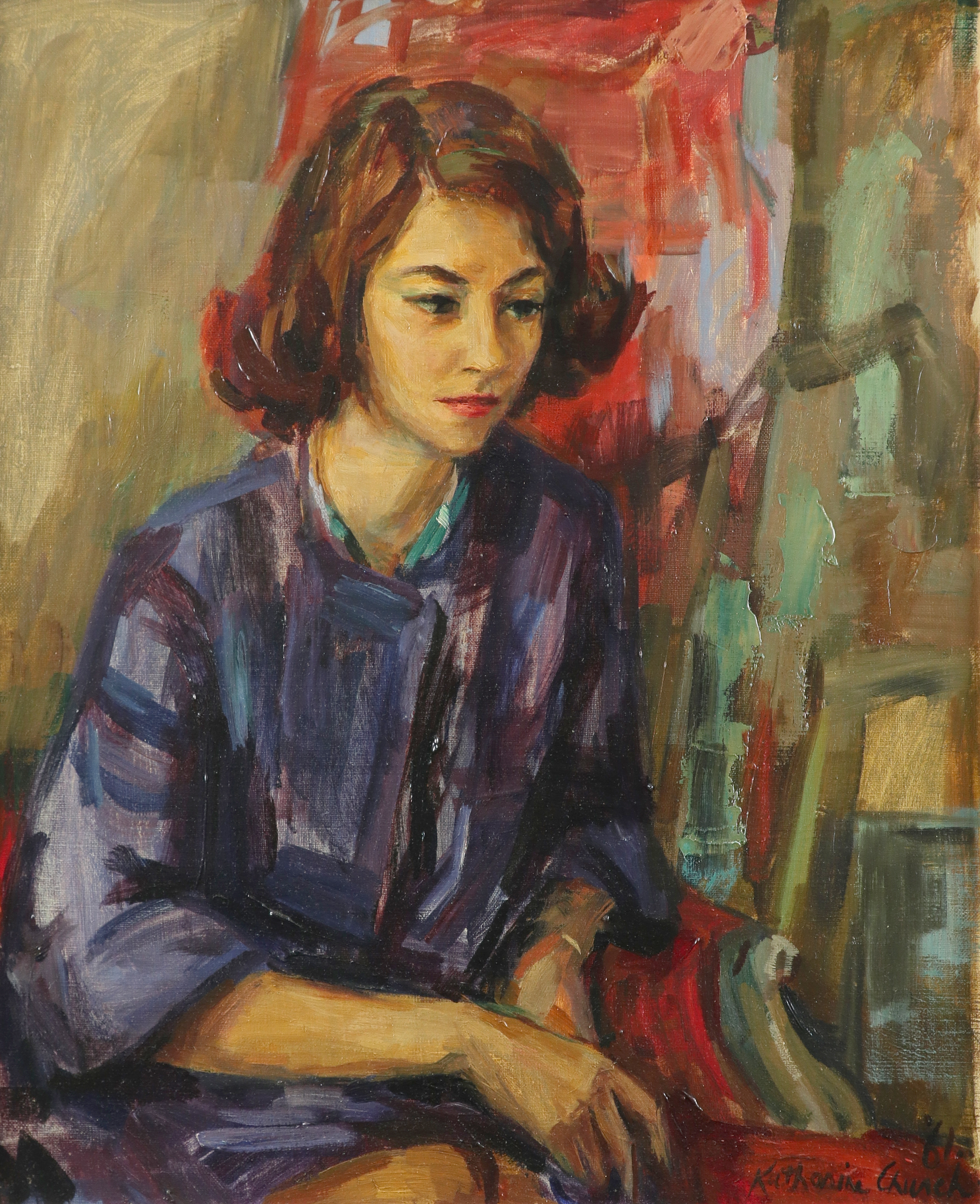 ‡Katherine Church (1910-1999) Portrait of a lady seated Signed and dated '61/Katherine Church (lower