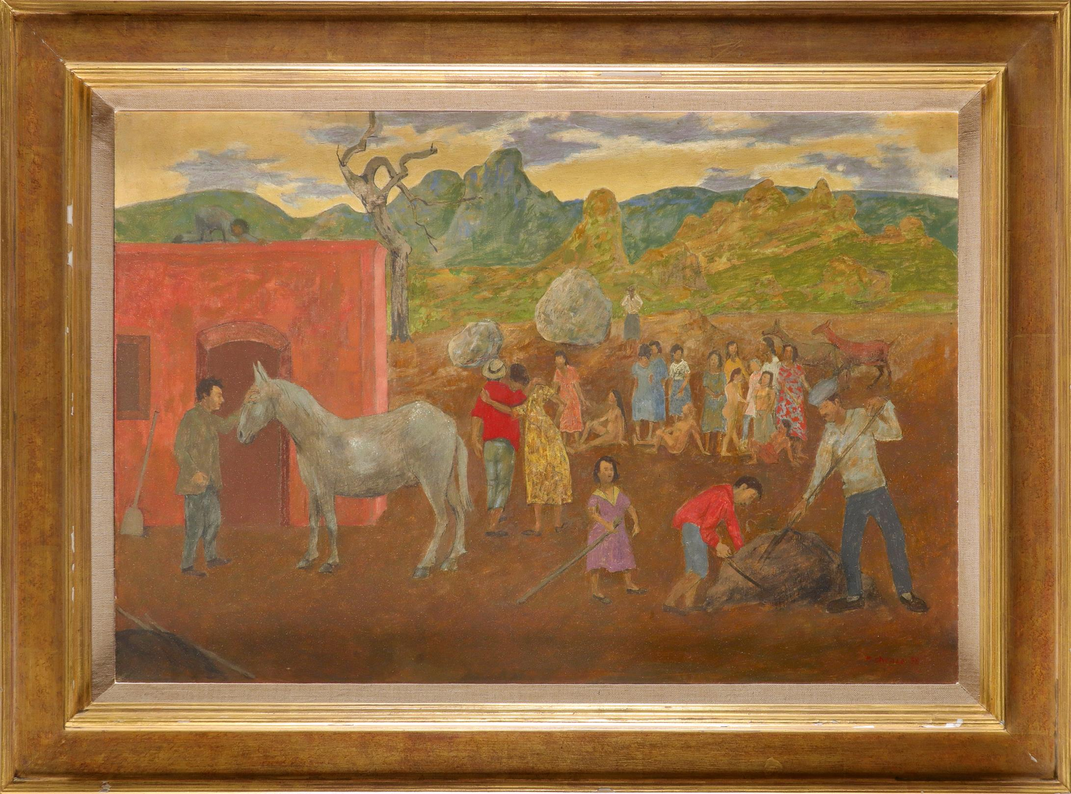 ‡Grégoire Michonze (French 1902-1982) Landscape with villagers and horses Signed and dated - Image 2 of 3