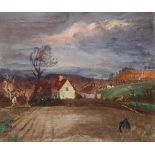 Thomas Hennell RWS, NEAC (1903-1945) A farmer ploughing a field (recto); Landscape with cottages (