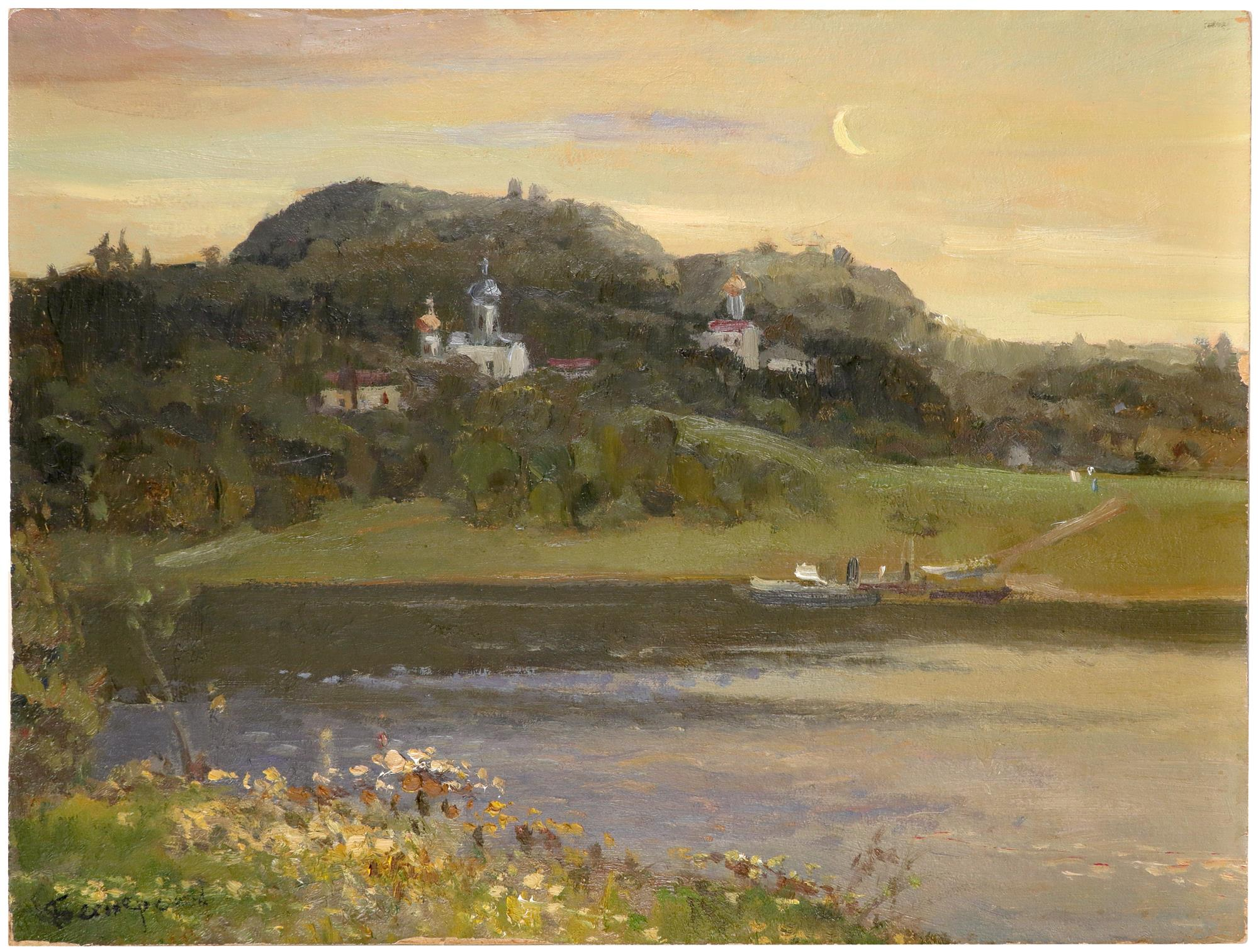 Yakov Besperstov (Russian 1929-1998) Evening on the Volga Signed in Cyrillic (lower left), and