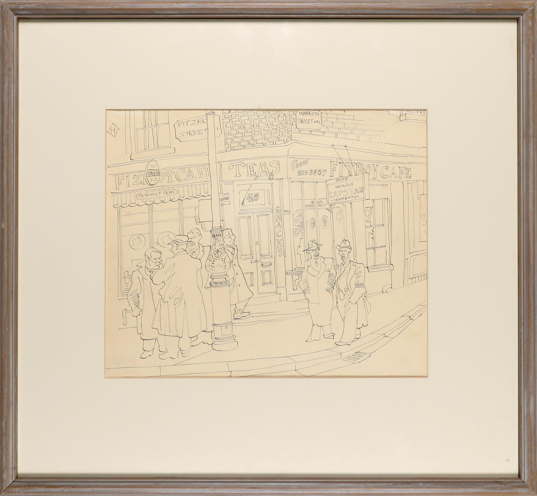 ‡Julius Stafford-Baker (1909-1988) The Fitzroy Cafe Pen and ink 30.8 x 37cm Provenance: Sally Hunter - Image 2 of 3