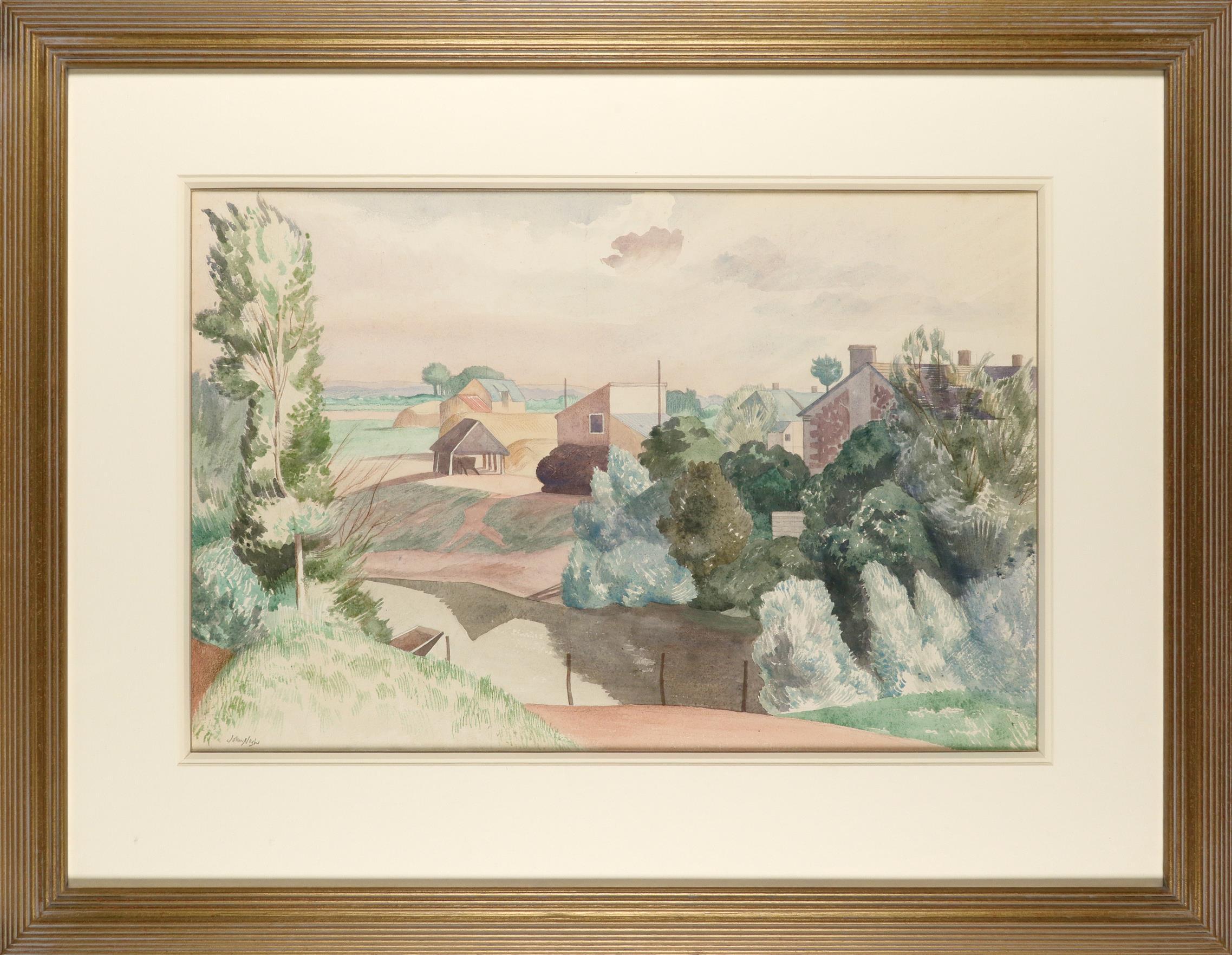 ‡John Nash CBE, RA (1893-1977) Farm in the Loire Valley Signed John Nash (lower left) Watercolour - Image 2 of 3