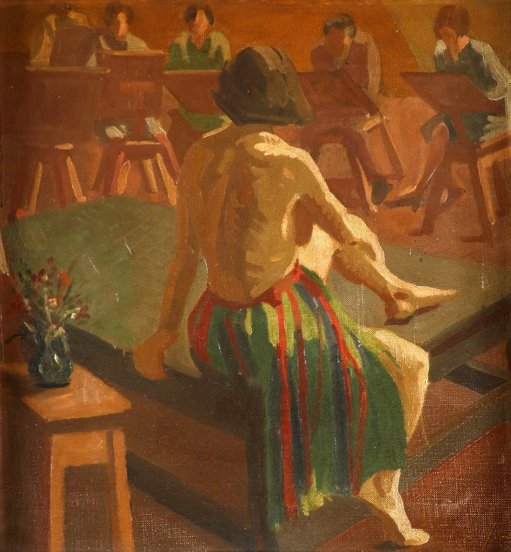 Camden Town School The life drawing class Oil on canvasboard 48.2 x 45.2cm