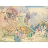 ‡Sir Frank Brangwyn RA, RWS, RBA (1867-1956) Gipsy caravan Watercolour 55.5 x 72.6cm Provenance: