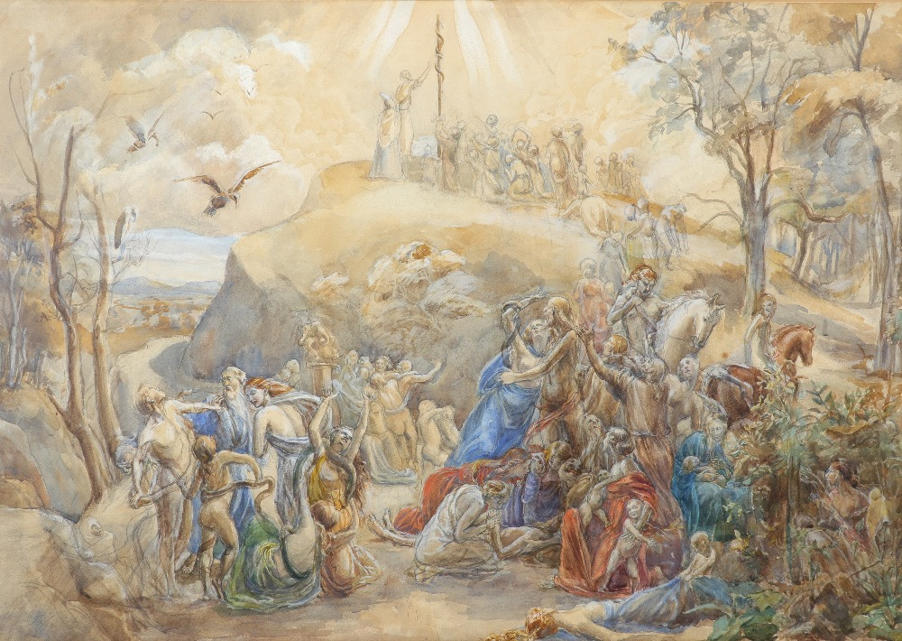 Circle of Augustus John Moses and the Brazen Serpent Bears signature John (lower left) Watercolour