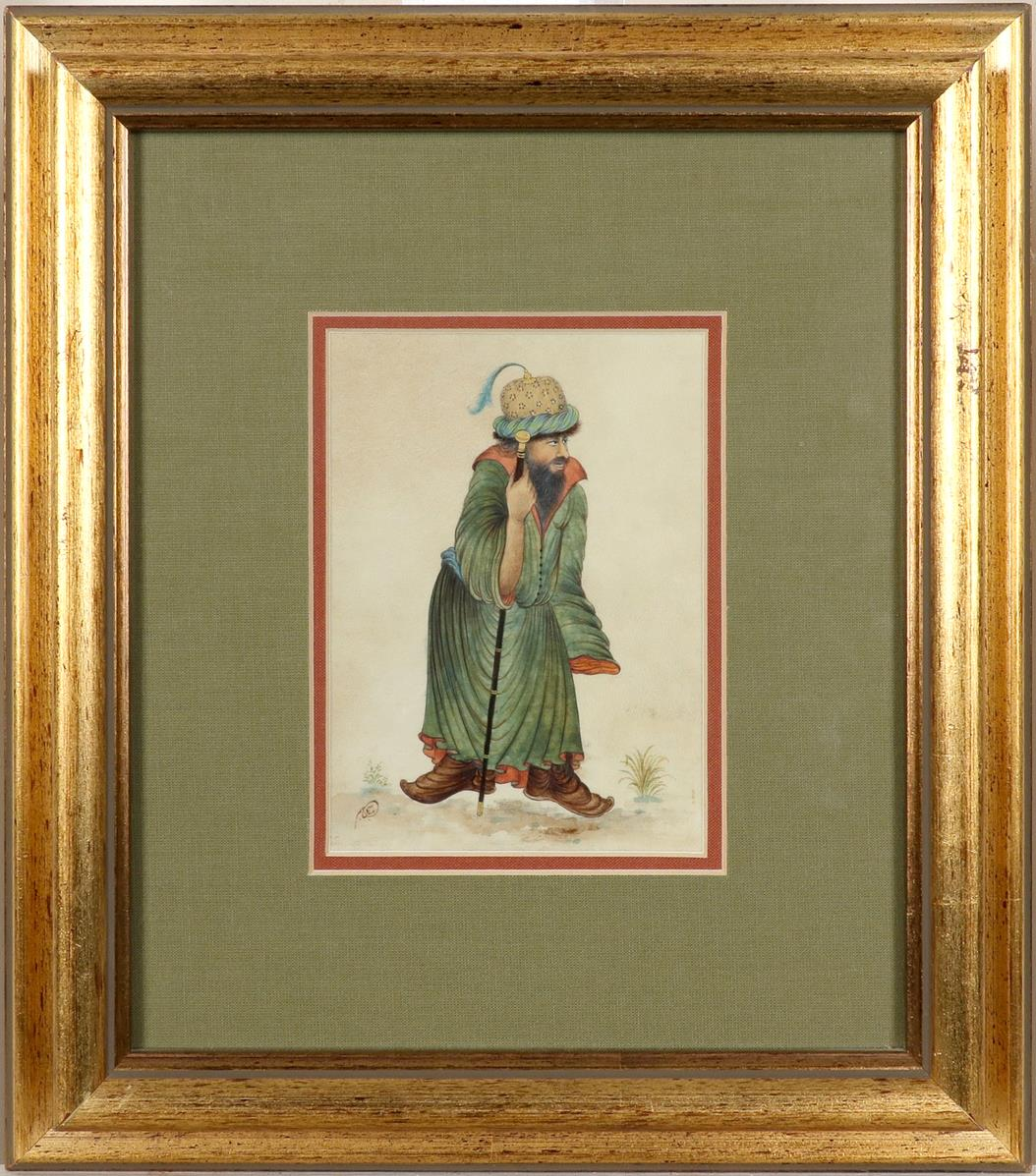 Yakup Abbasi (Iranian b.1948) A man carrying a carpet; A man with a staff A pair, both signed in - Image 4 of 6