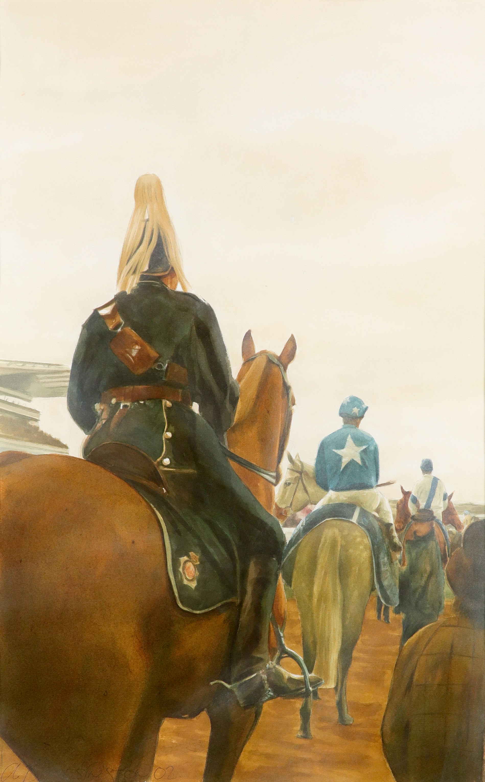 ‡Alan Brassington (Irish b.1959) Before the Grand National Signed and dated a. BRASSINGTON 02 (lower