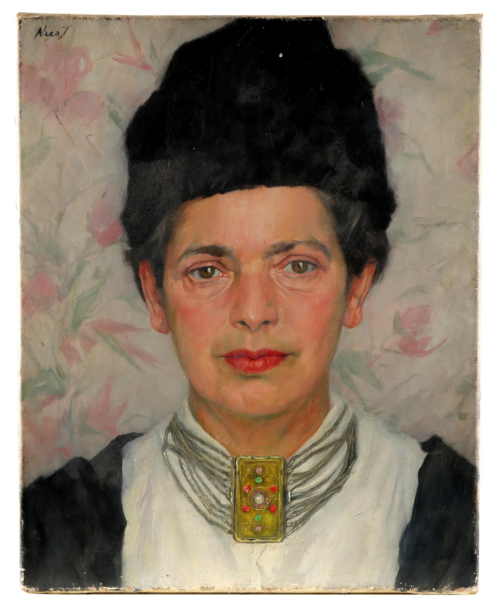 Russian School 20th Century Portrait of a woman, bust-length, in a fur hat Signed NicoJ (upper left)