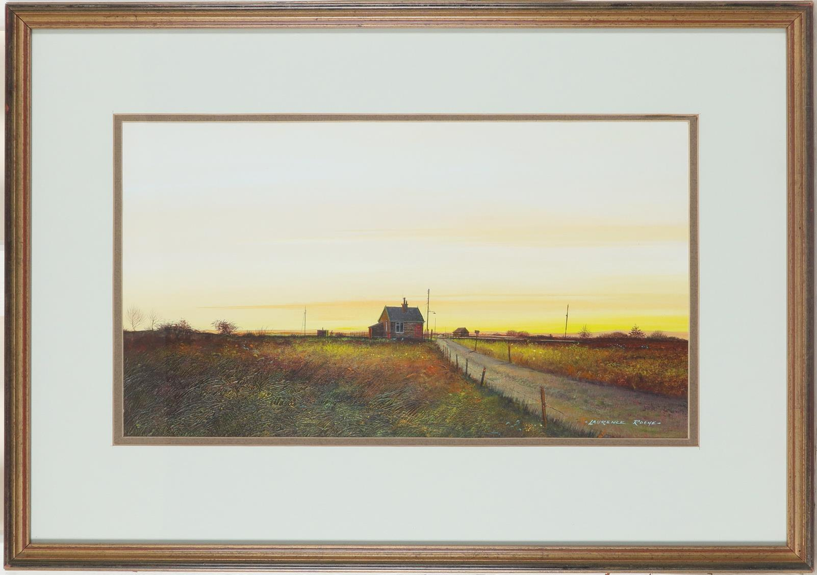 ‡Laurence Roche (Welsh b.1944) Country crossing Signed -LAURENCE ROCHE- (lower right) Acrylic on - Image 2 of 3
