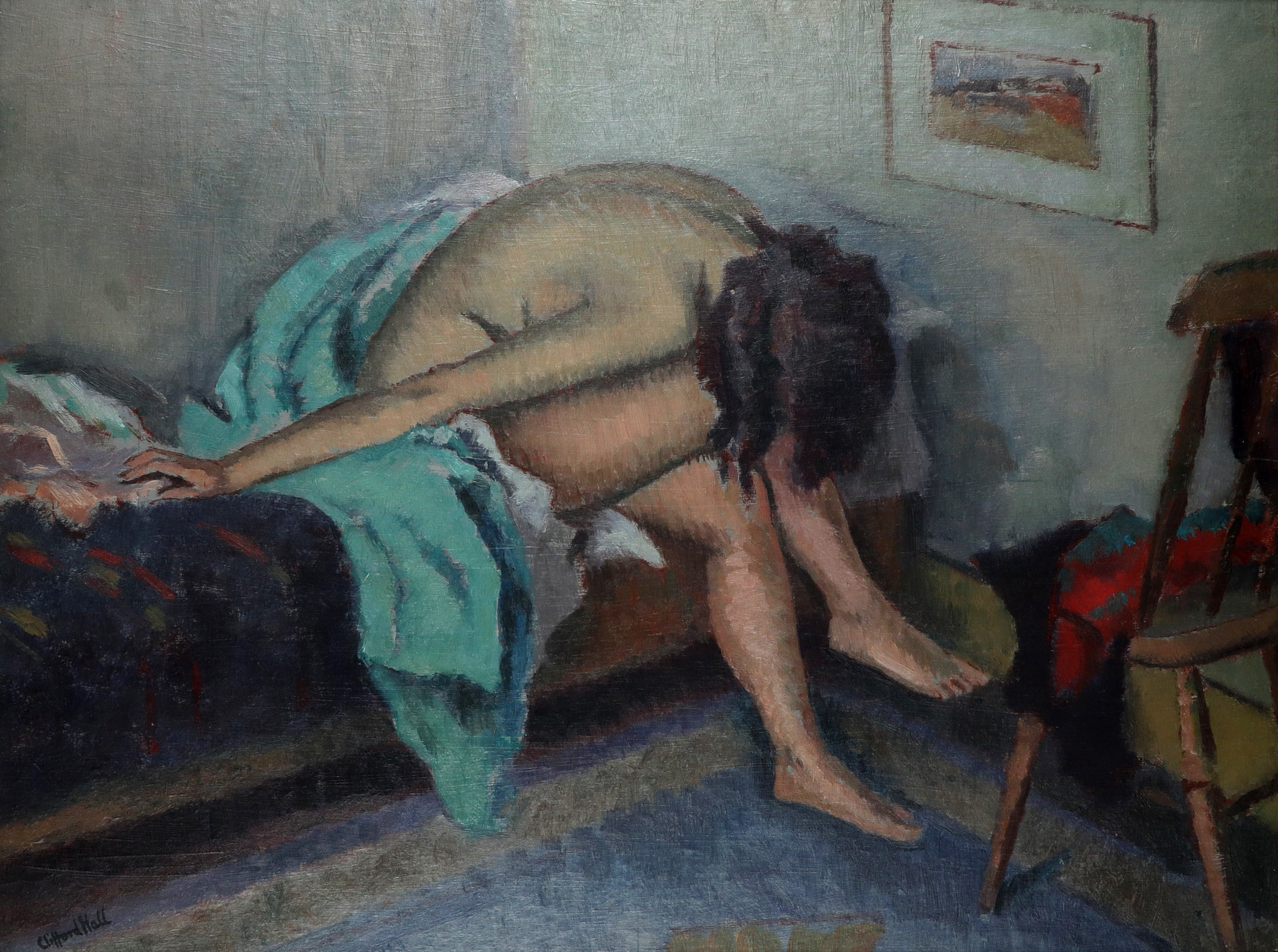 ‡Clifford Hall RBA, ROI (1904-1973) Female nude seated on a bed Signed Clifford Hall (lower left)