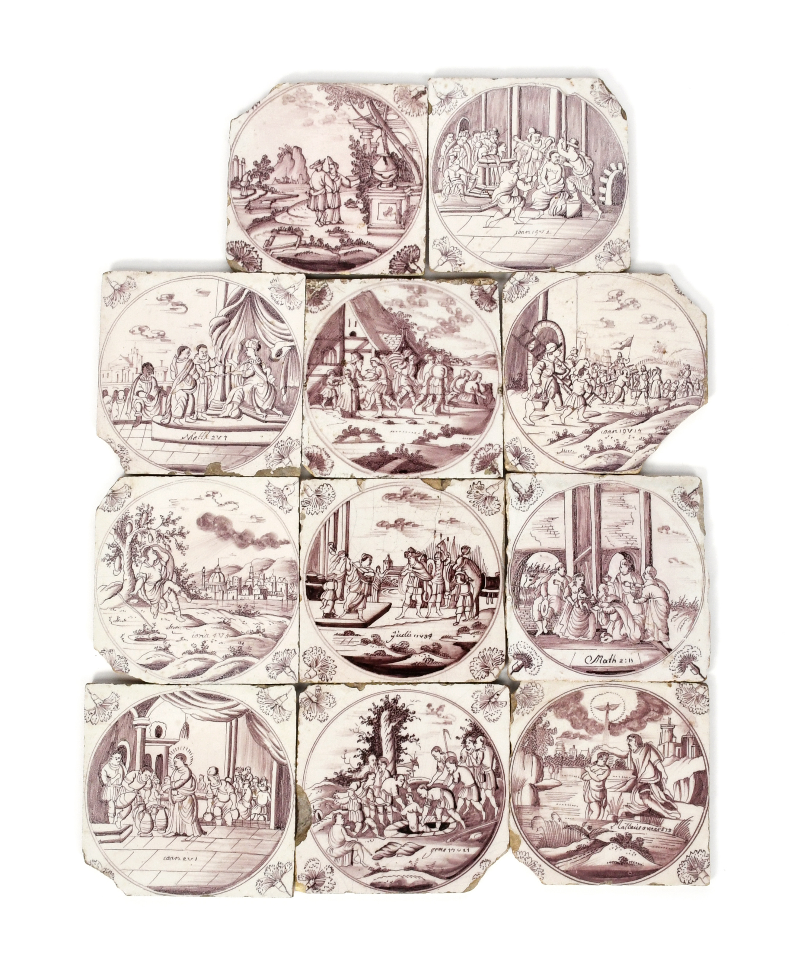 Eleven Delft Biblical tiles mid 18th century, painted in manganese with varying scenes from the