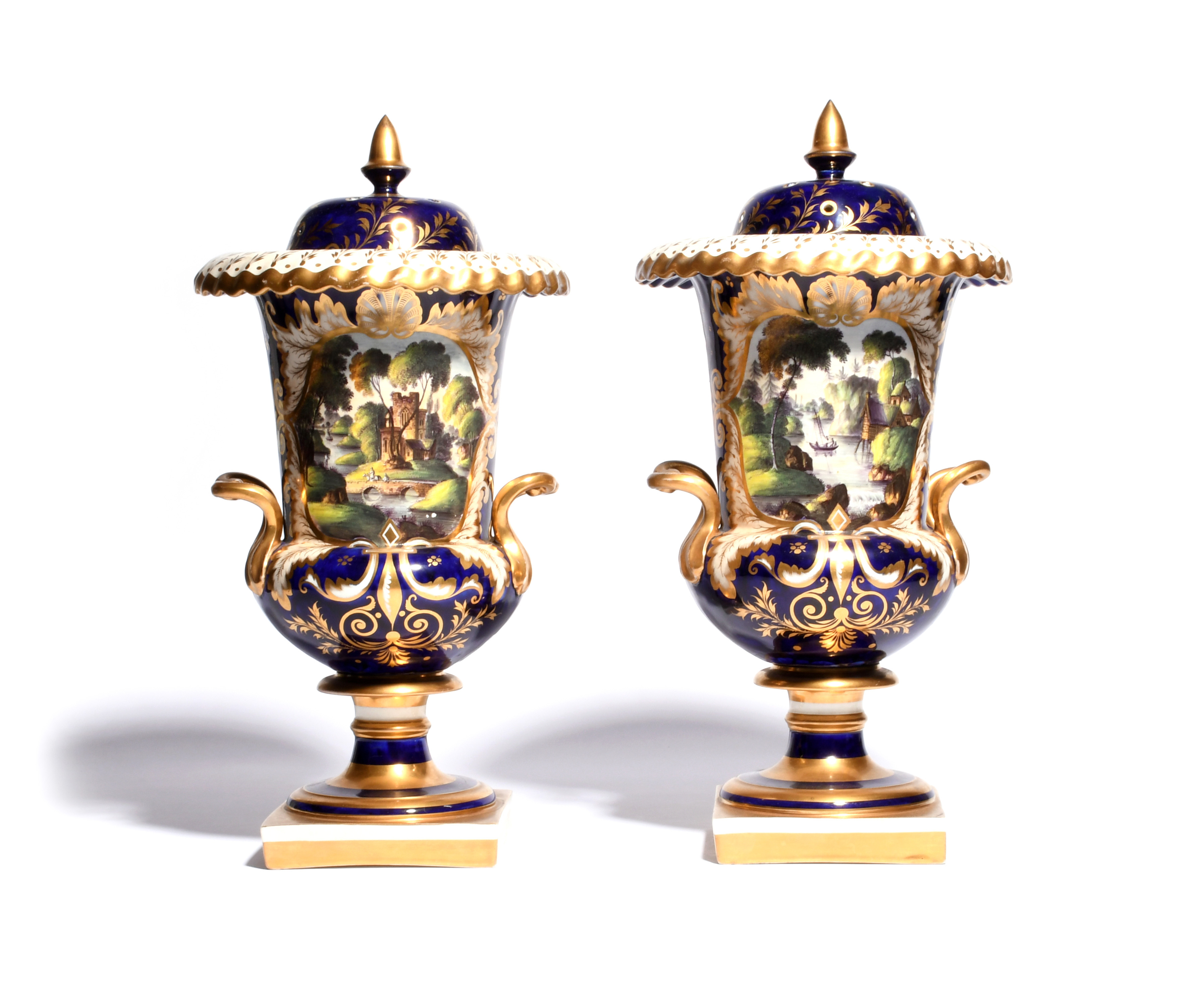 A large pair of English porcelain vases and covers c.1830-40, the tall campana forms painted with