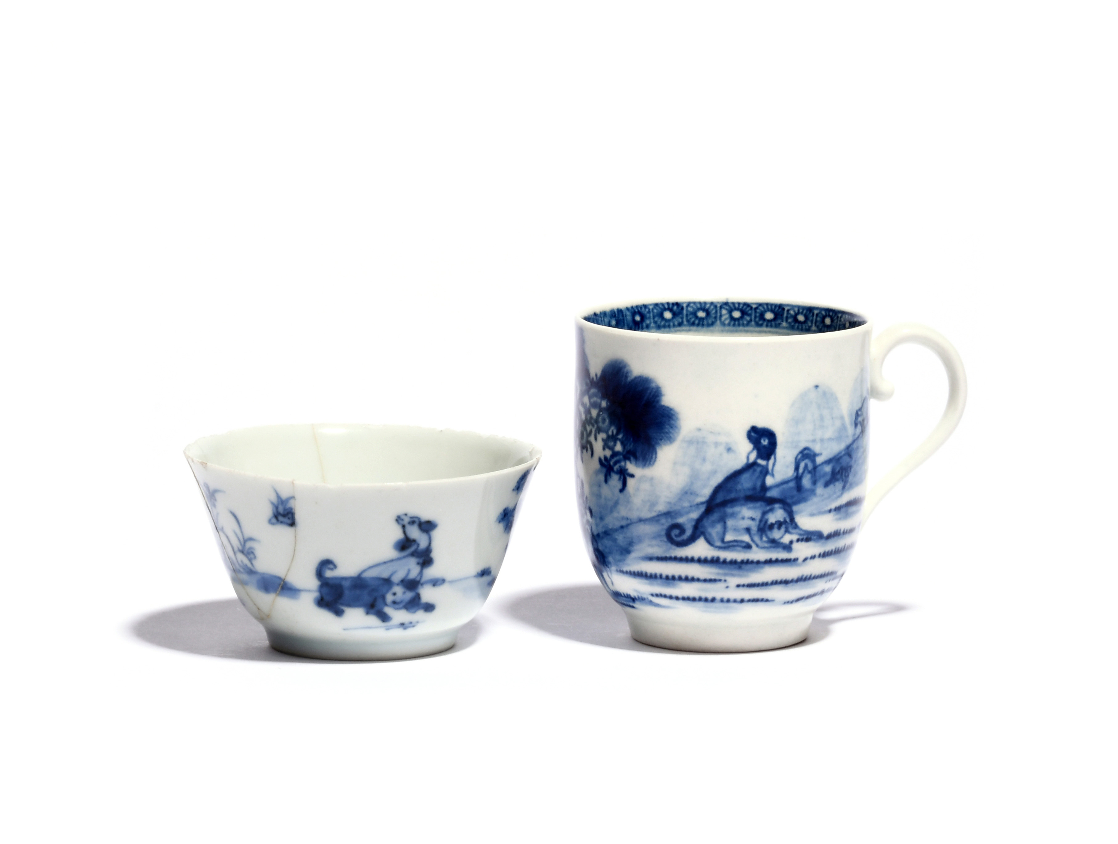 A rare Worcester blue and white coffee cup c.1760-65, painted with the Blue Valentine pattern with
