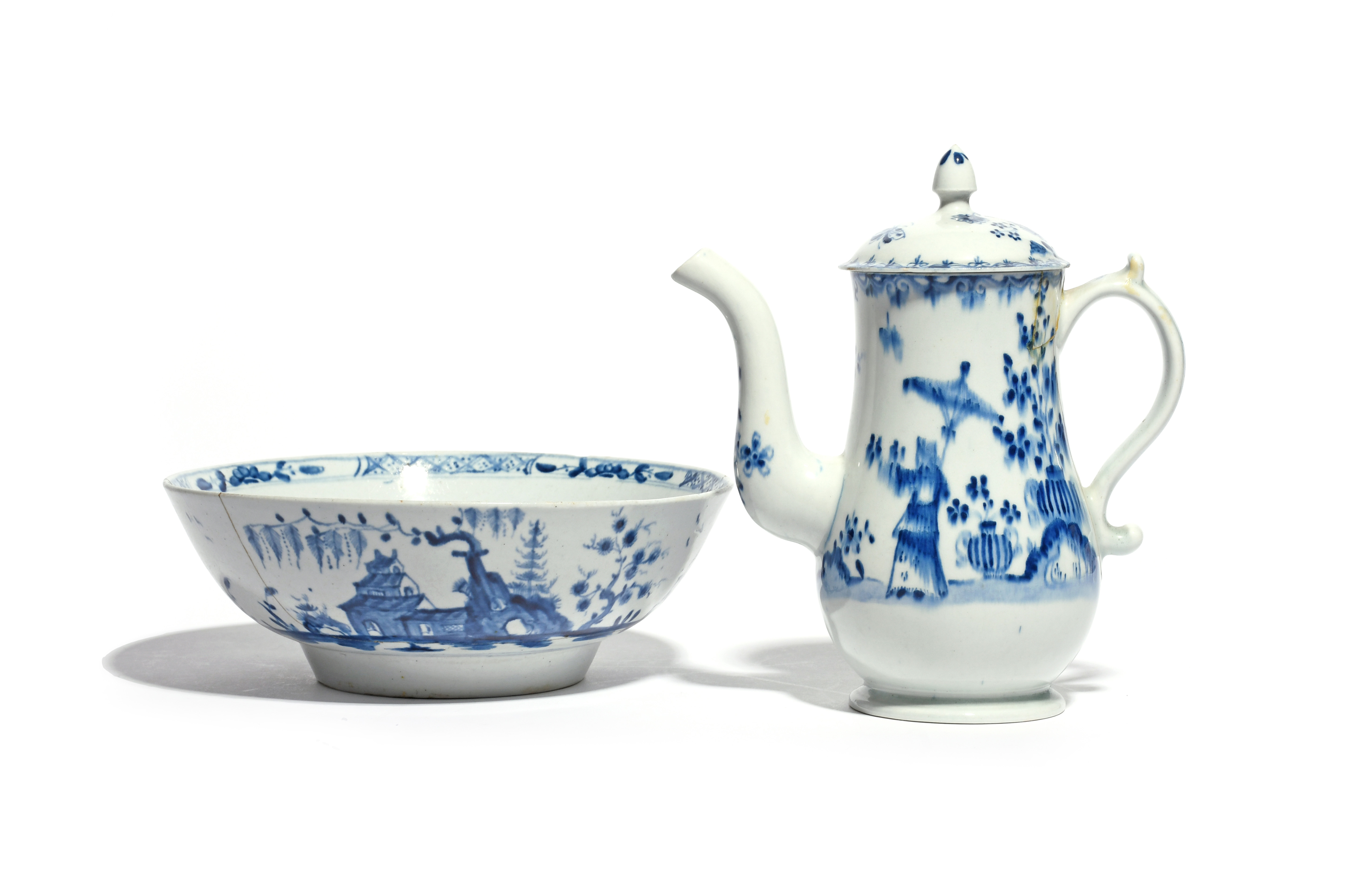 A Lowestoft blue and white coffee pot and cover c.1770, the baluster shape painted with a Chinese