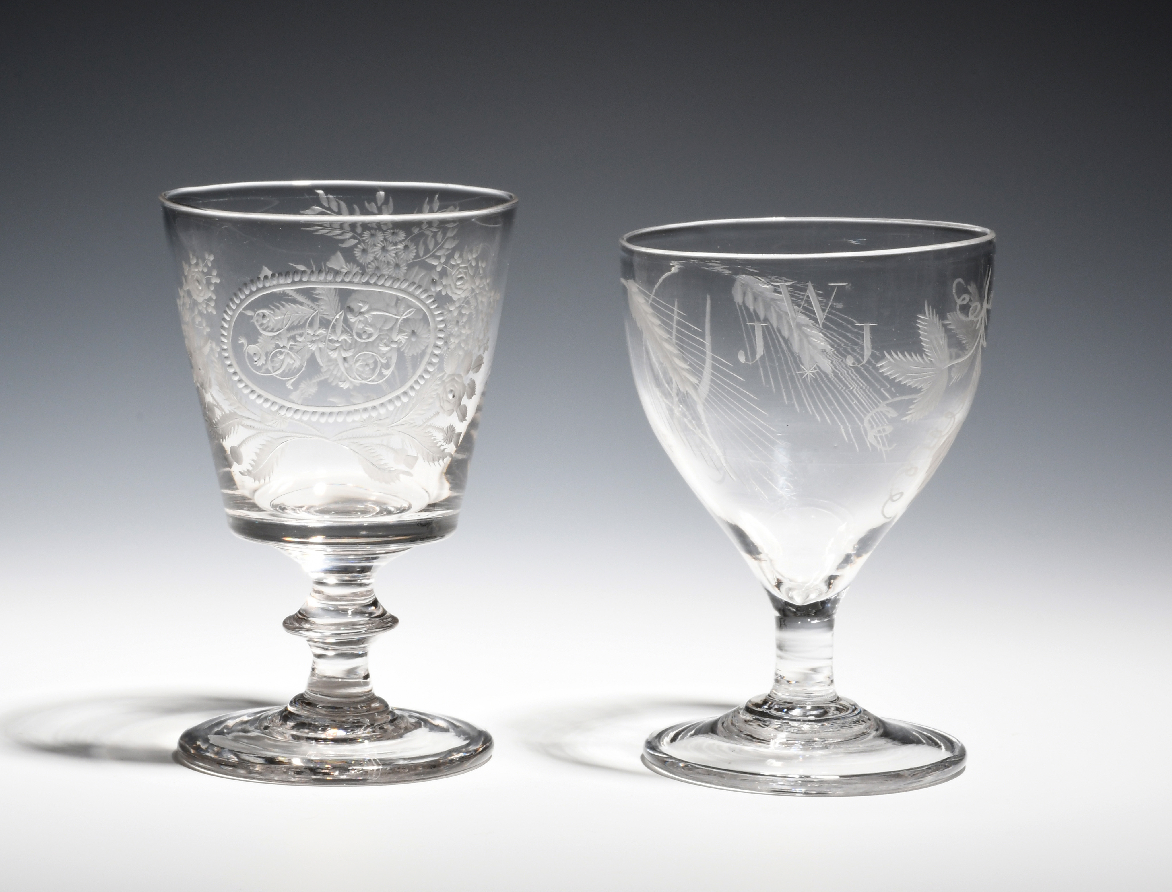 Two glass rummers c.1790-1830, one engraved with hops and barley and the initials 'WJJ', the other