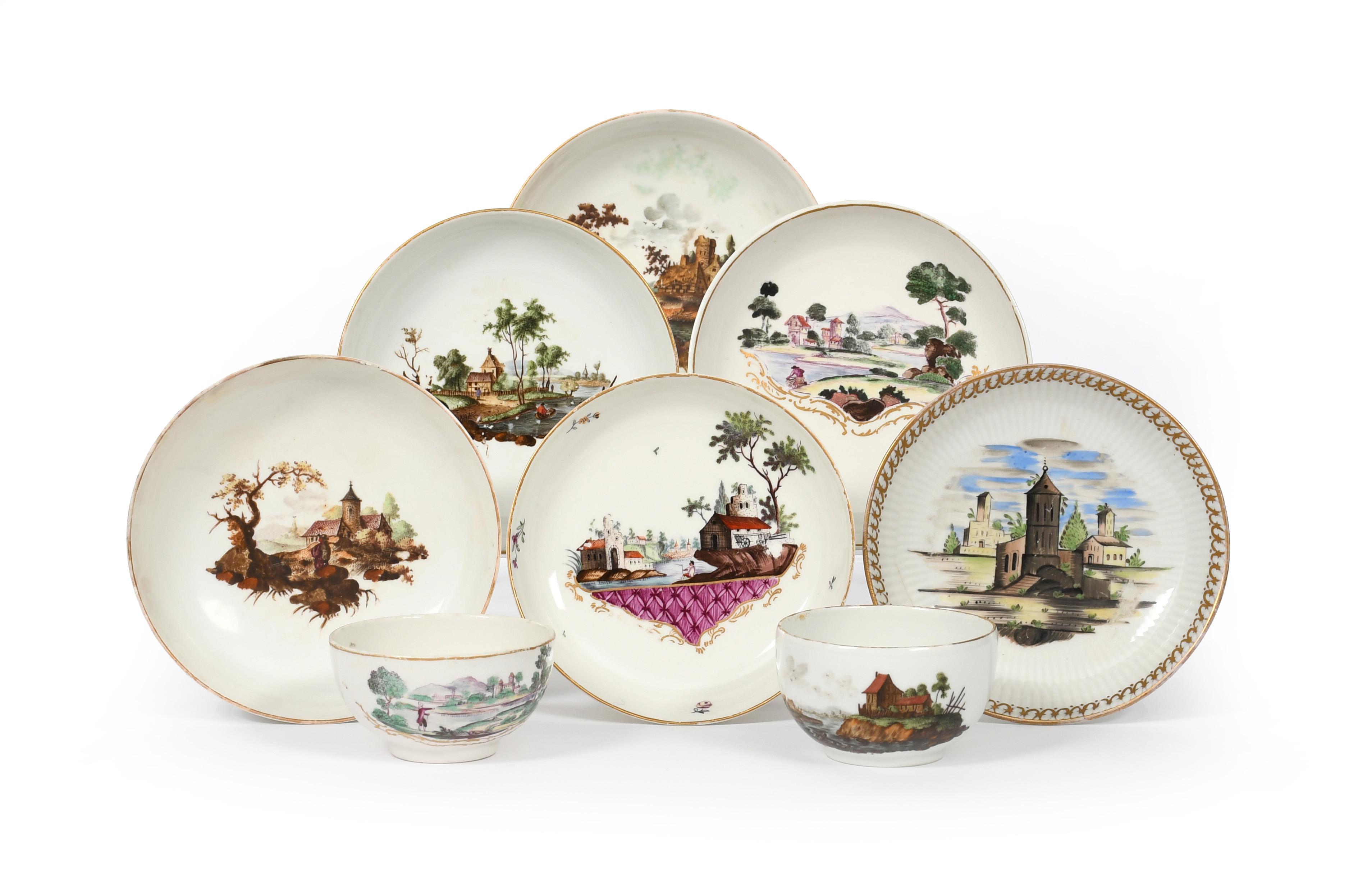 A group of German porcelain teawares c.1760-80, including a Würzburg tea cup and saucer, a