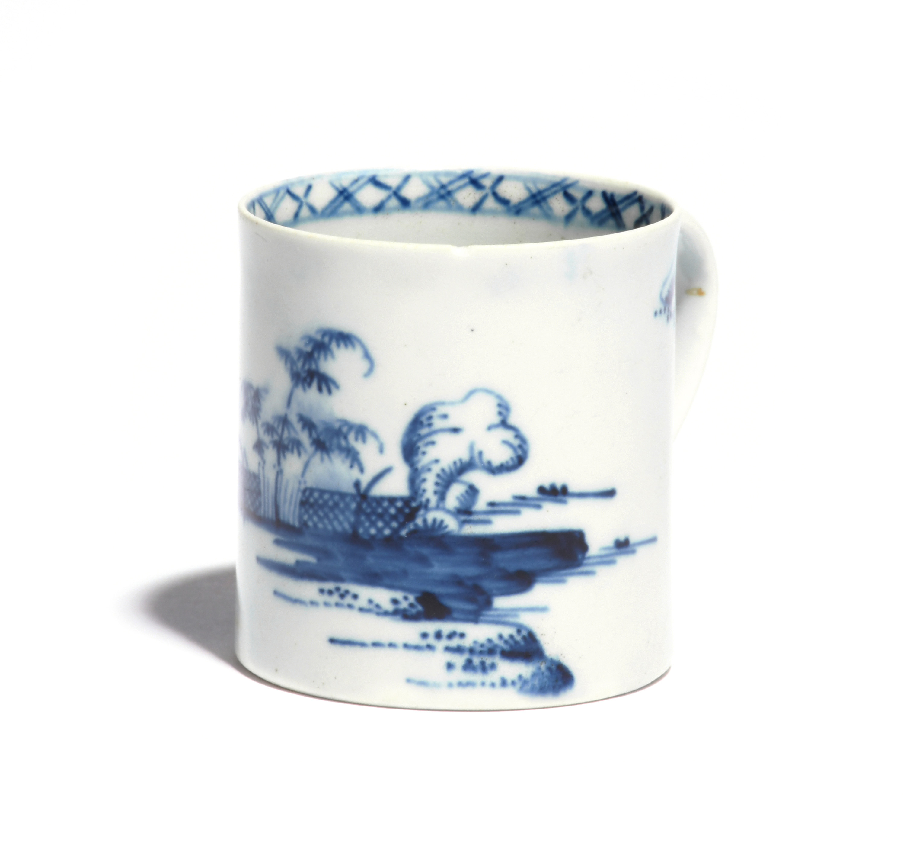 A Richard Chaffers (Liverpool) small blue and white mug or coffee can c.1758-60, painted with bamboo