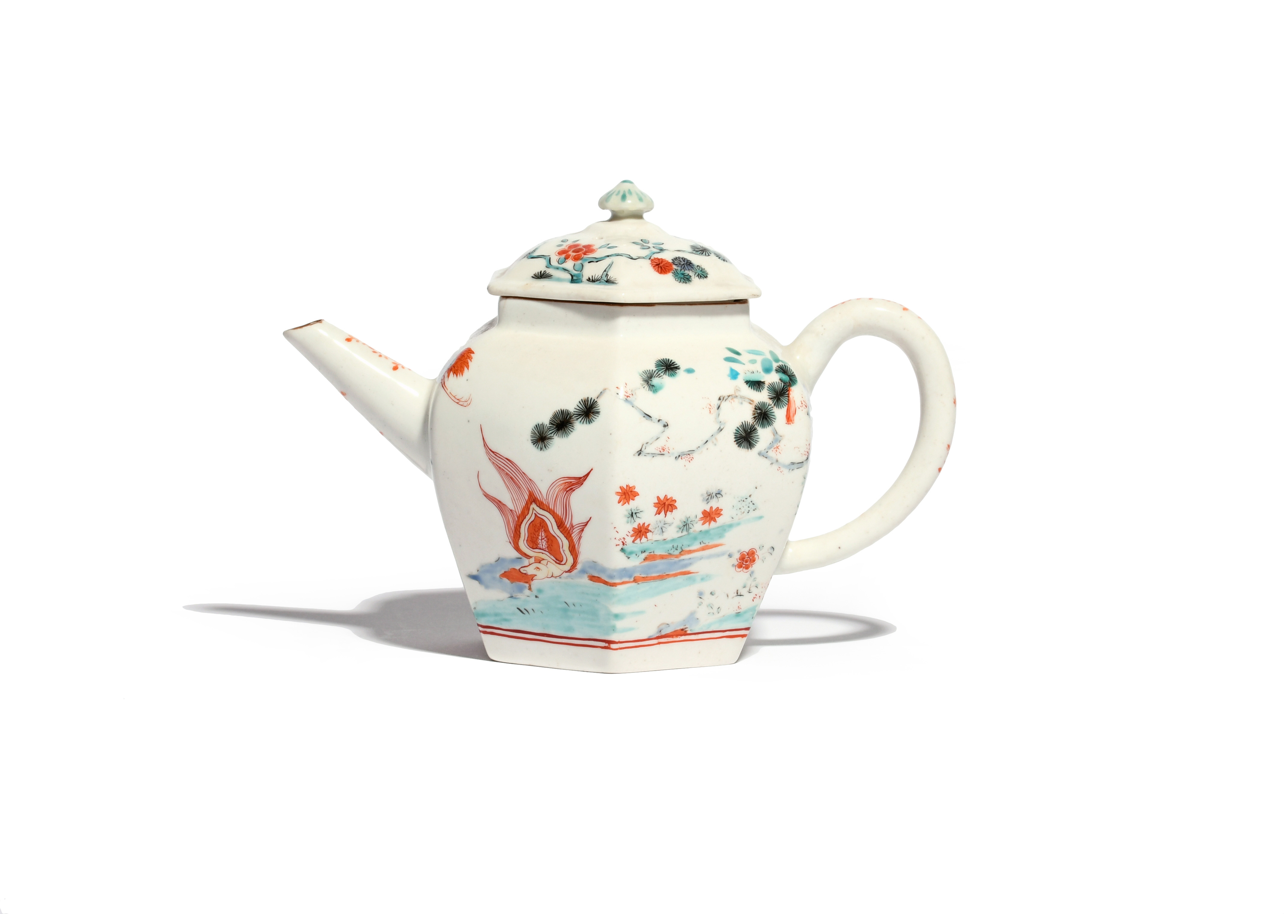 A rare and early Chelsea hexagonal teapot and cover c.1750-52, painted to one side with the