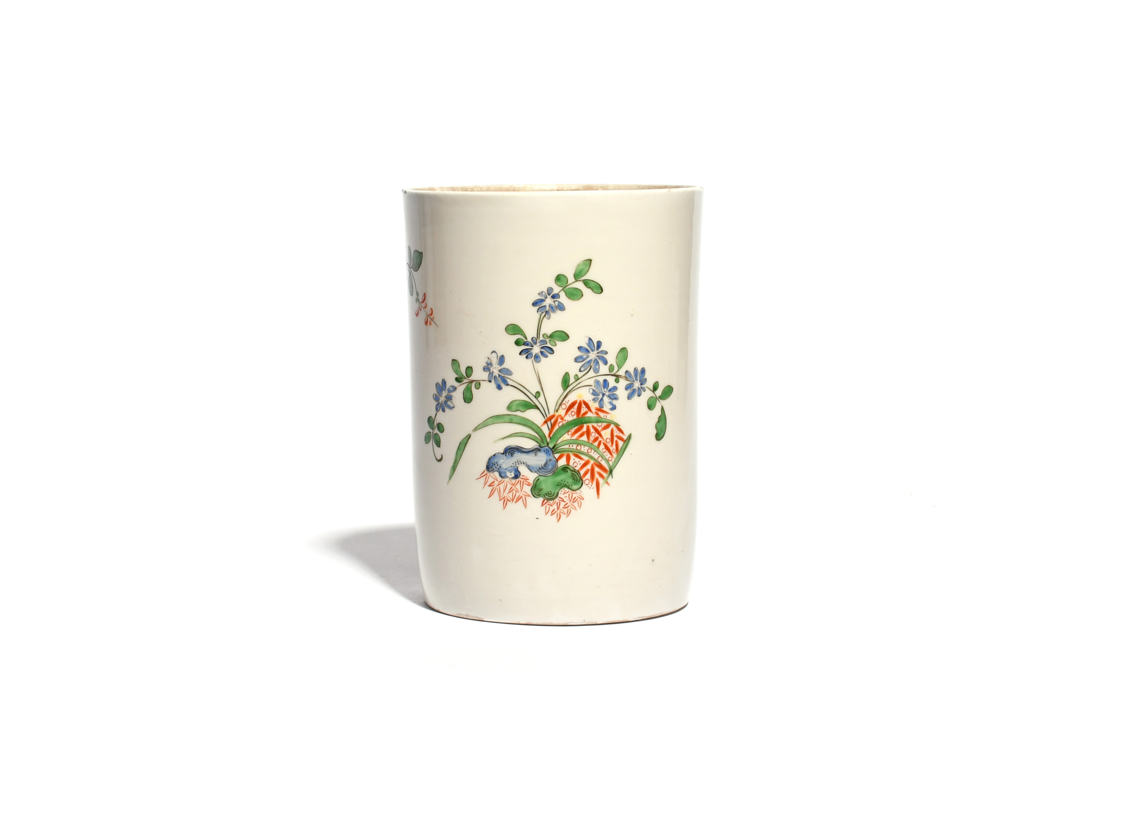 A Du Paquier tobacco jar c.1730, the generous cylindrical body painted in an extended Kakiemon - Image 2 of 2
