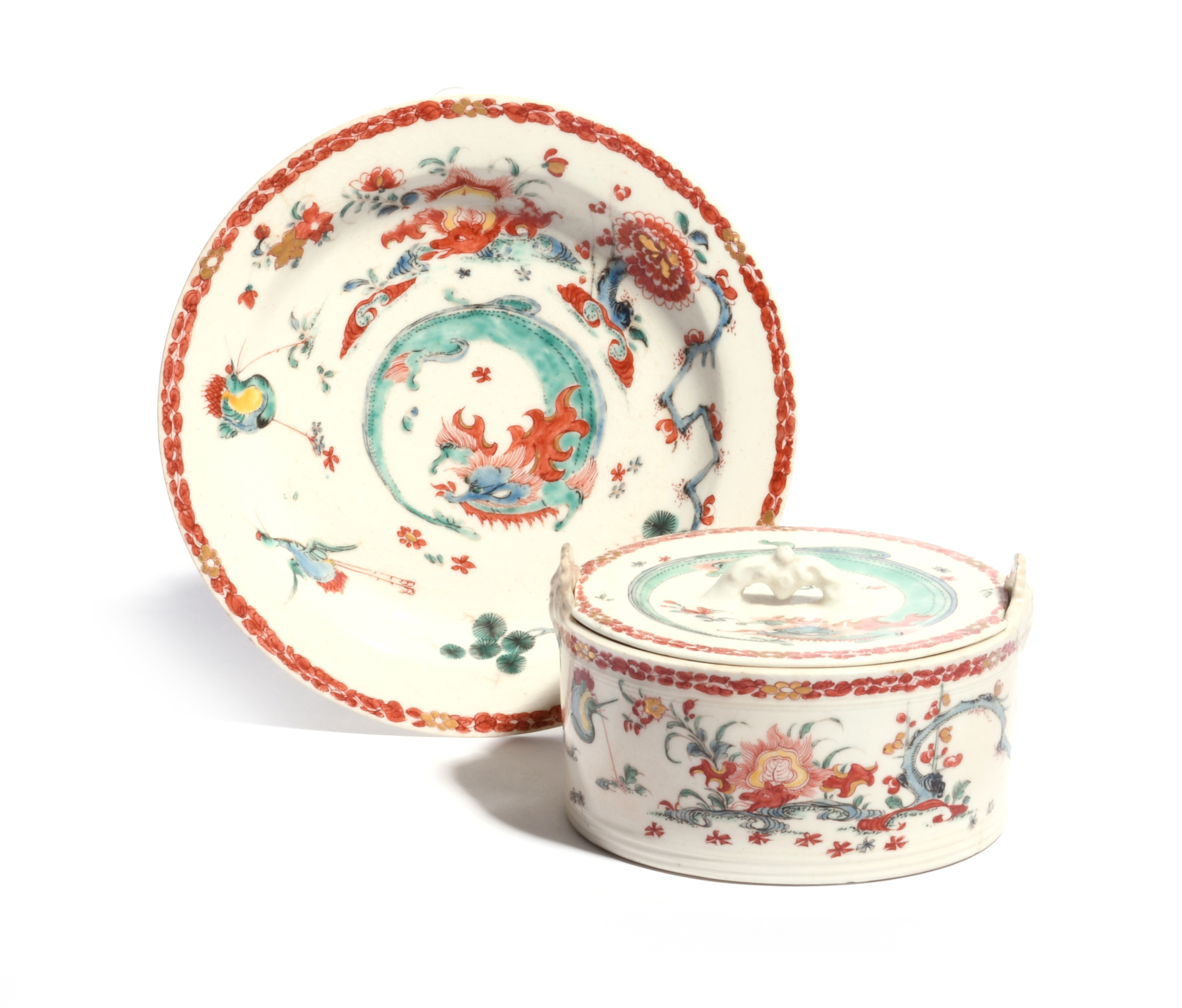 A Bow butter tub with cover and stand c.1756-60, the cylindrical body painted in Kakiemon enamels - Image 2 of 2