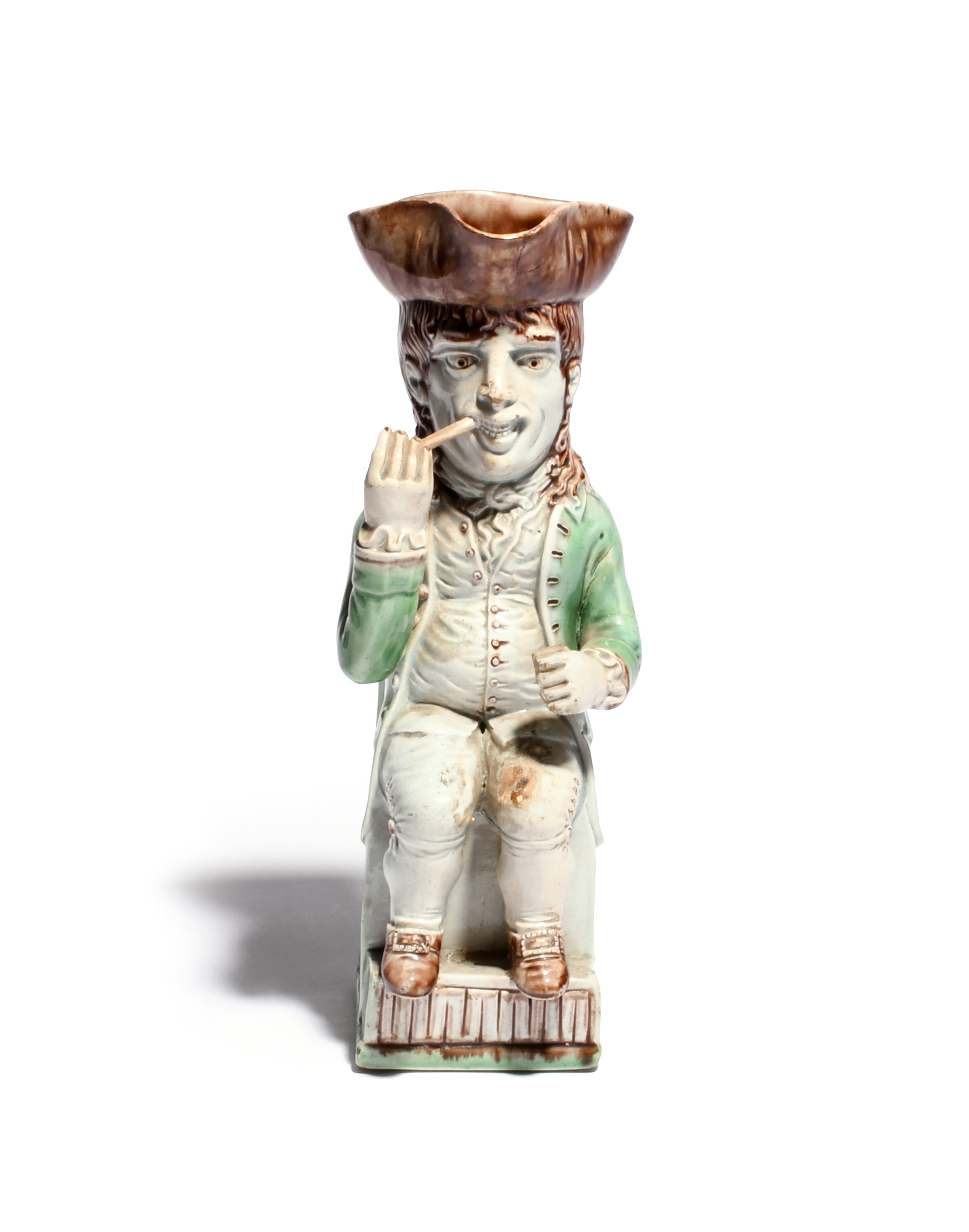 A Wood family Thin Man Toby jug c.1780, crisply modelled and seated on a stepped base, holding the - Image 2 of 2