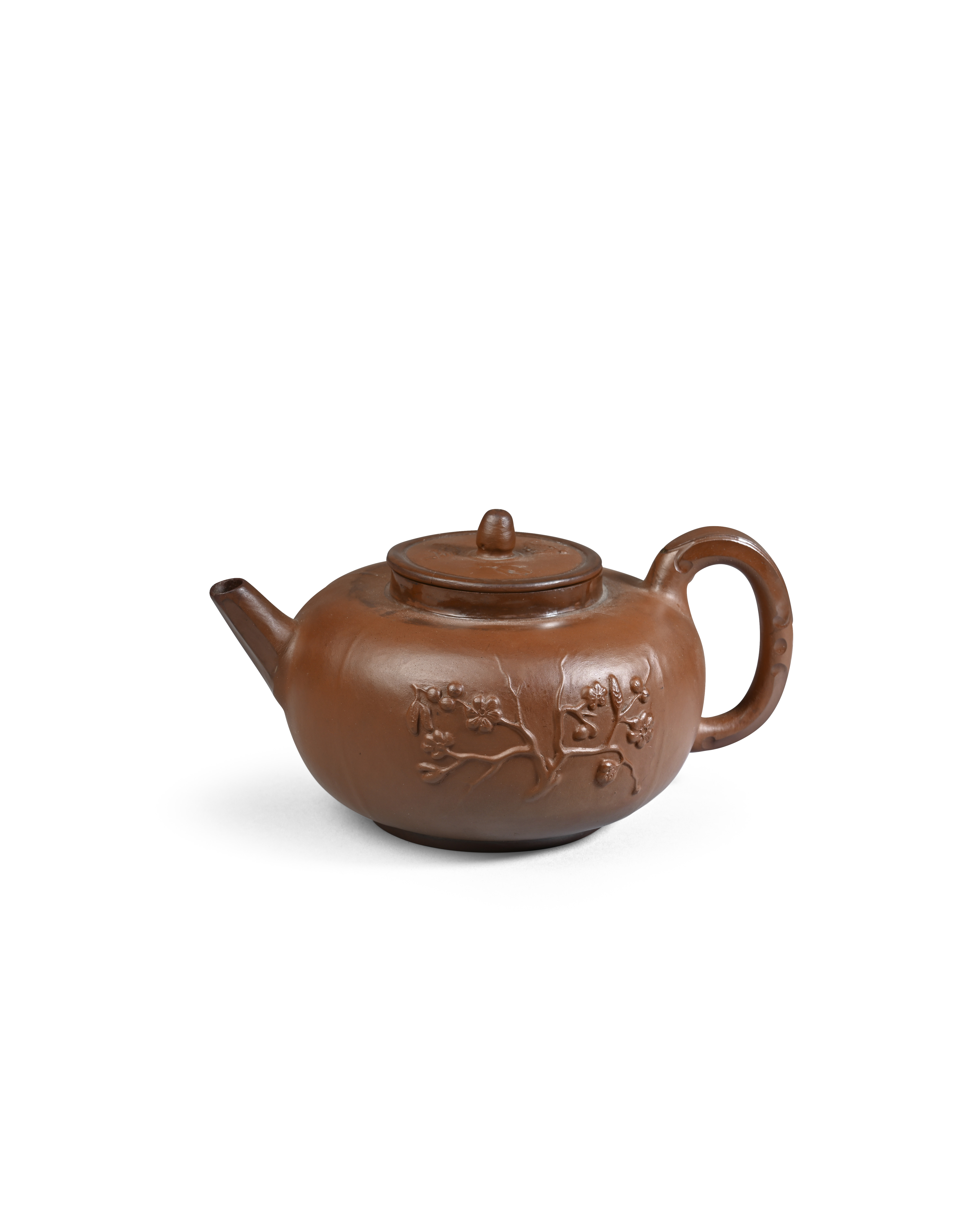 A rare Meissen Böttger stoneware teapot and cover c.1710-13, the flattened globular form sprigged