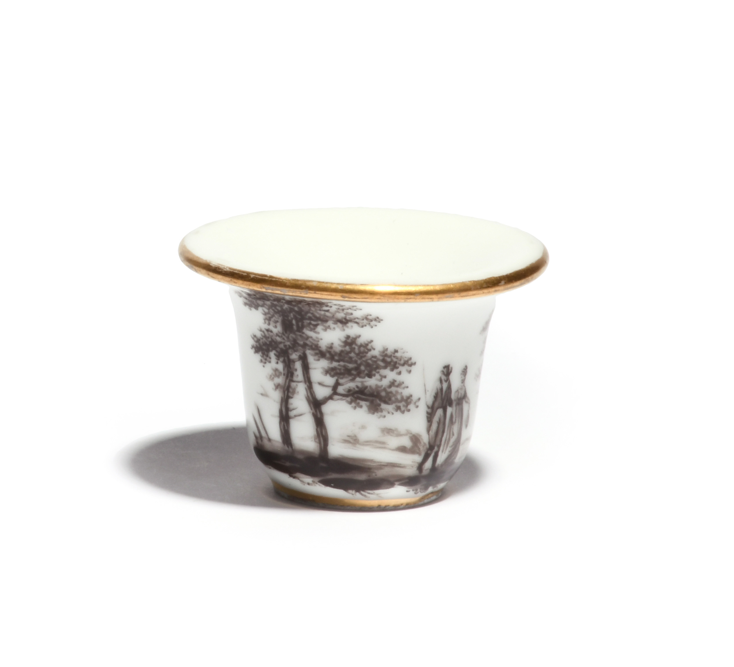 A rare Paris porcelain (Nast) rouge pot late 18th/early 19th century, the flared form decorated en