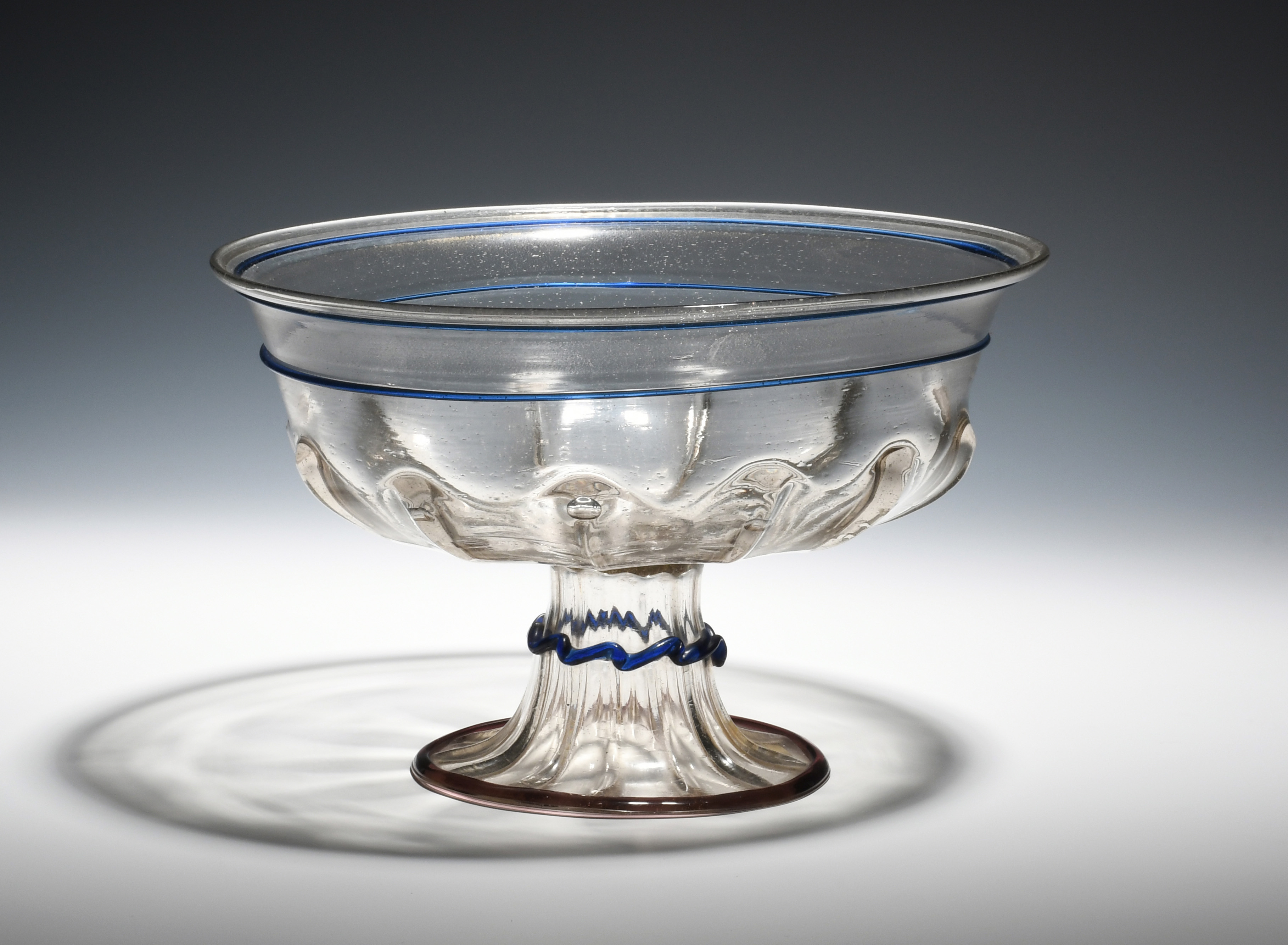 A large façon de Venise footed bowl 15th/16th century, moulded to the underside of the bowl with