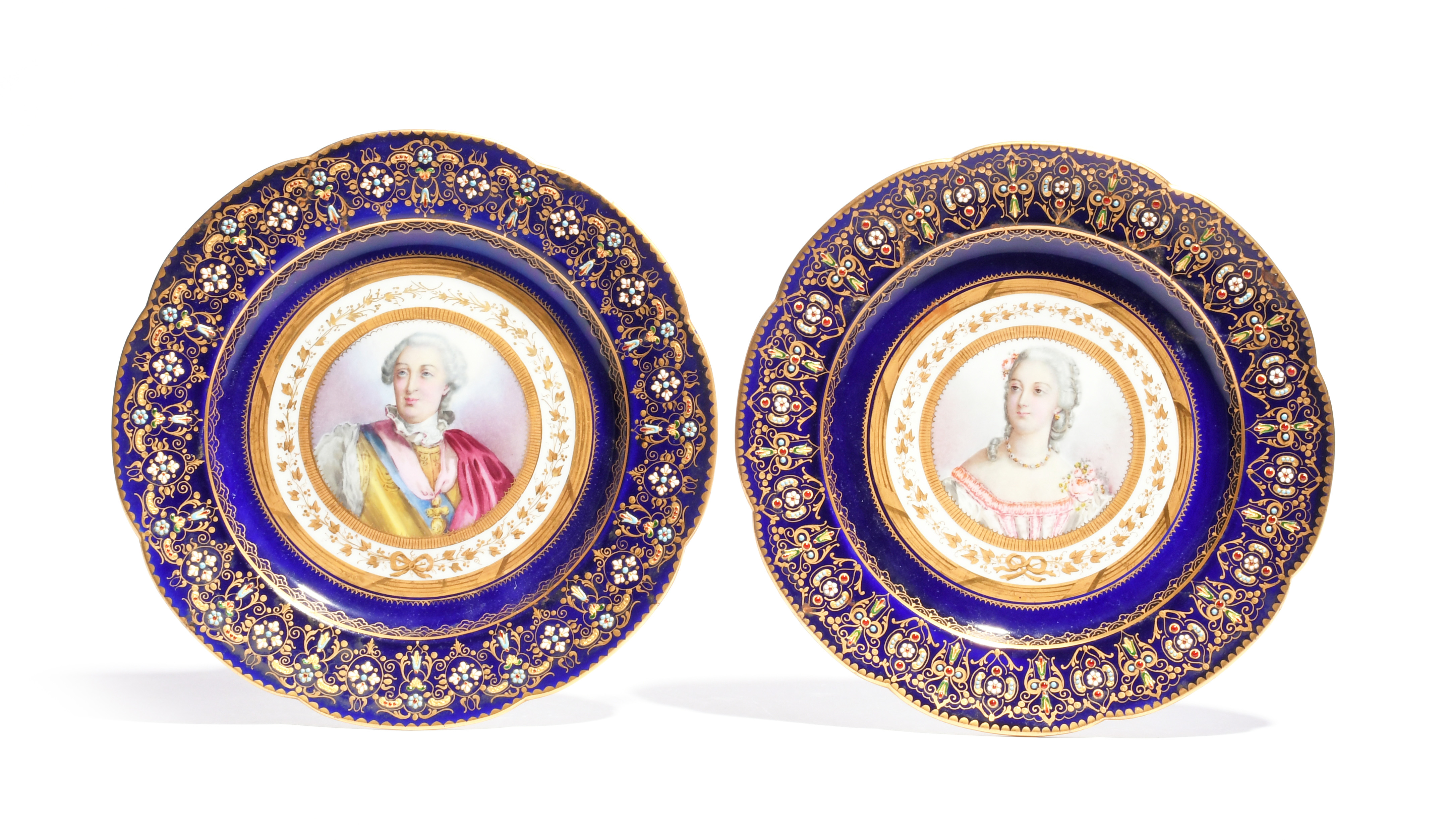 A pair of Sèvres-style cabinet plates late 19th century, painted with portraits of Louis XV and