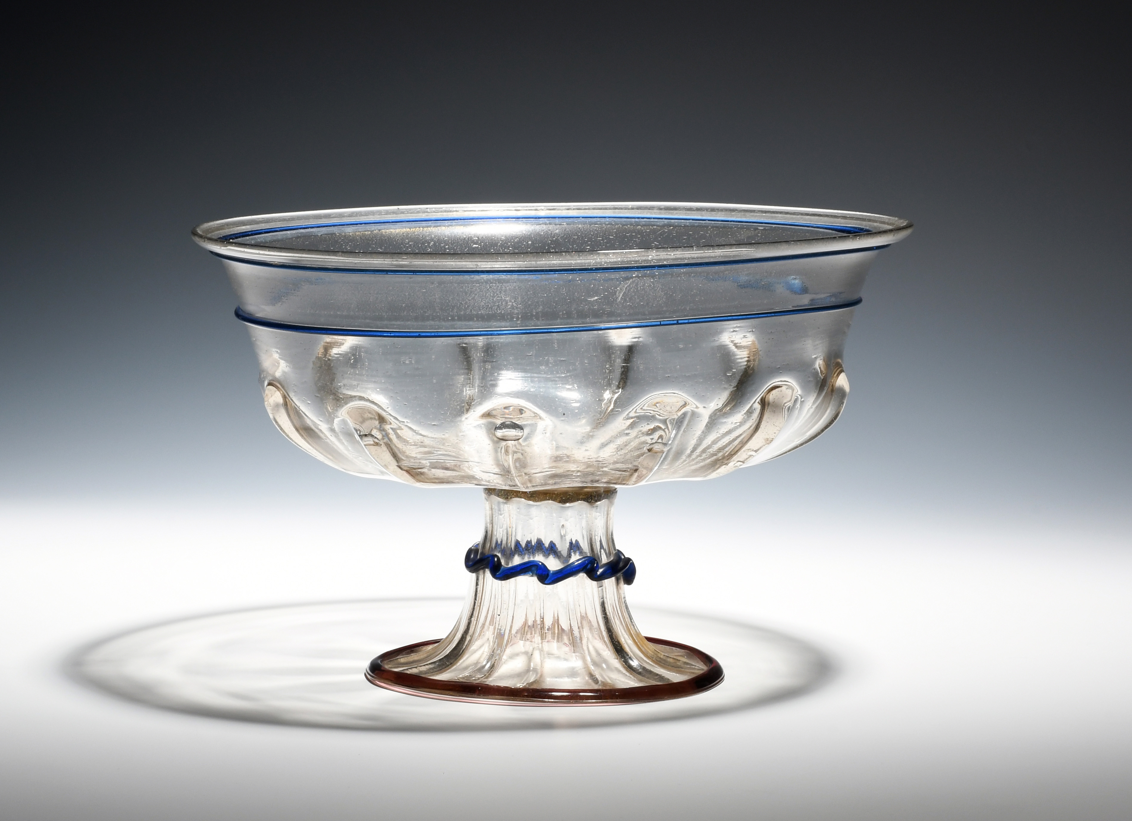 A large façon de Venise footed bowl 15th/16th century, moulded to the underside of the bowl with - Image 2 of 2