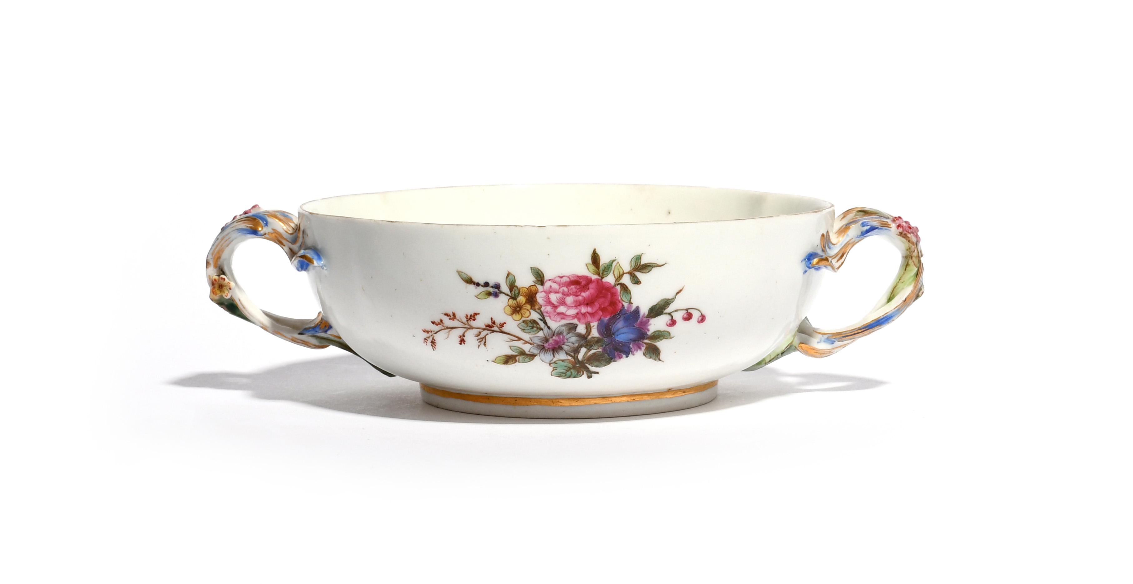 A Vincennes broth bowl or ecuelle (écuelle ronde) c.1749-53, the squat circular form painted with