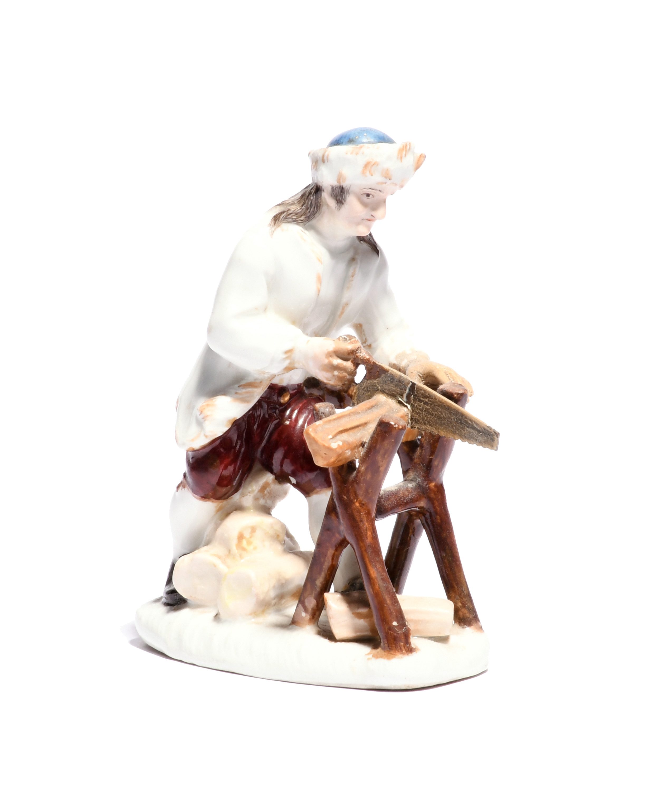 A Meissen figure of a woodcutter mid 18th century, modelled by J J Kändler after engravings by