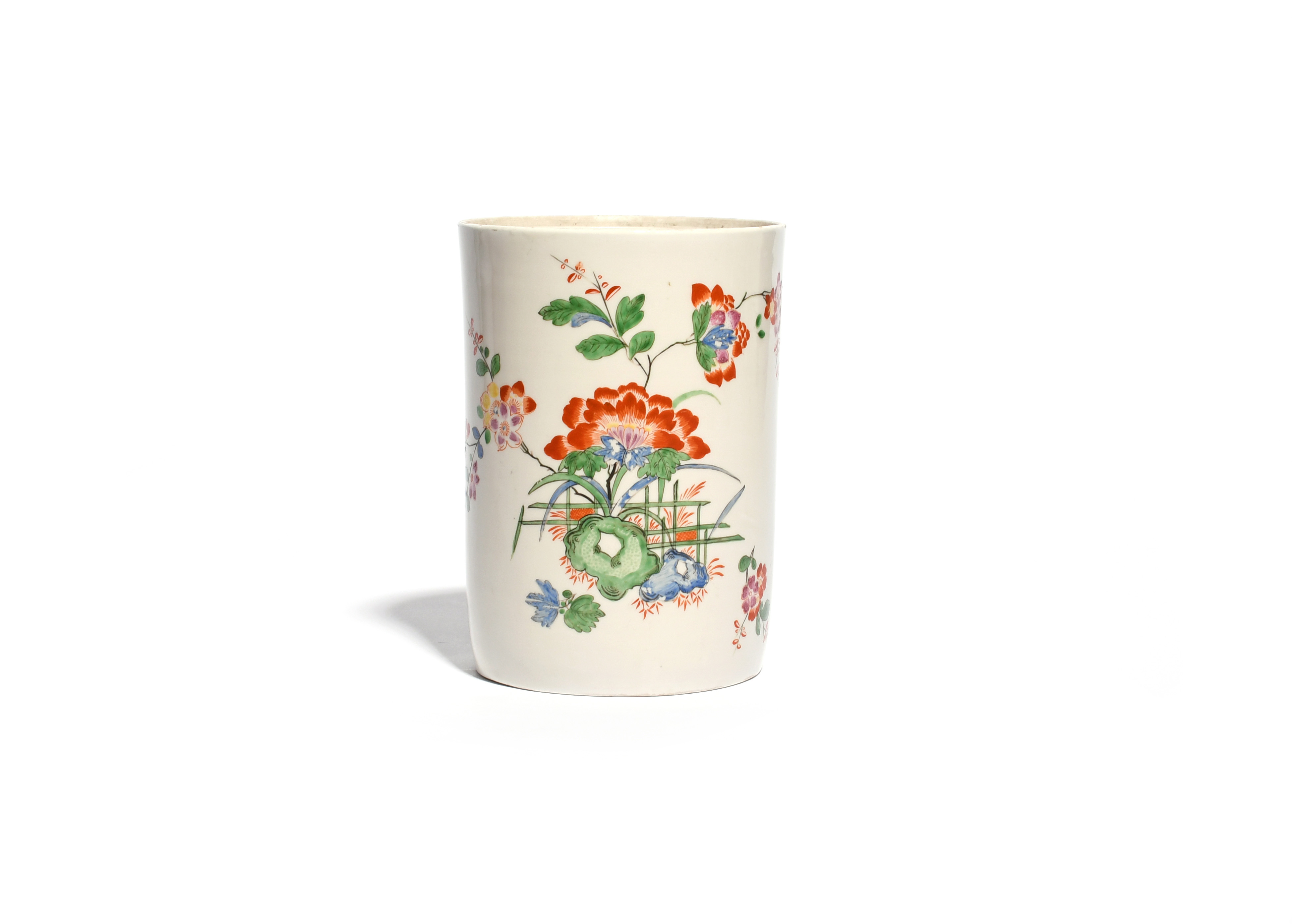 A Du Paquier tobacco jar c.1730, the generous cylindrical body painted in an extended Kakiemon