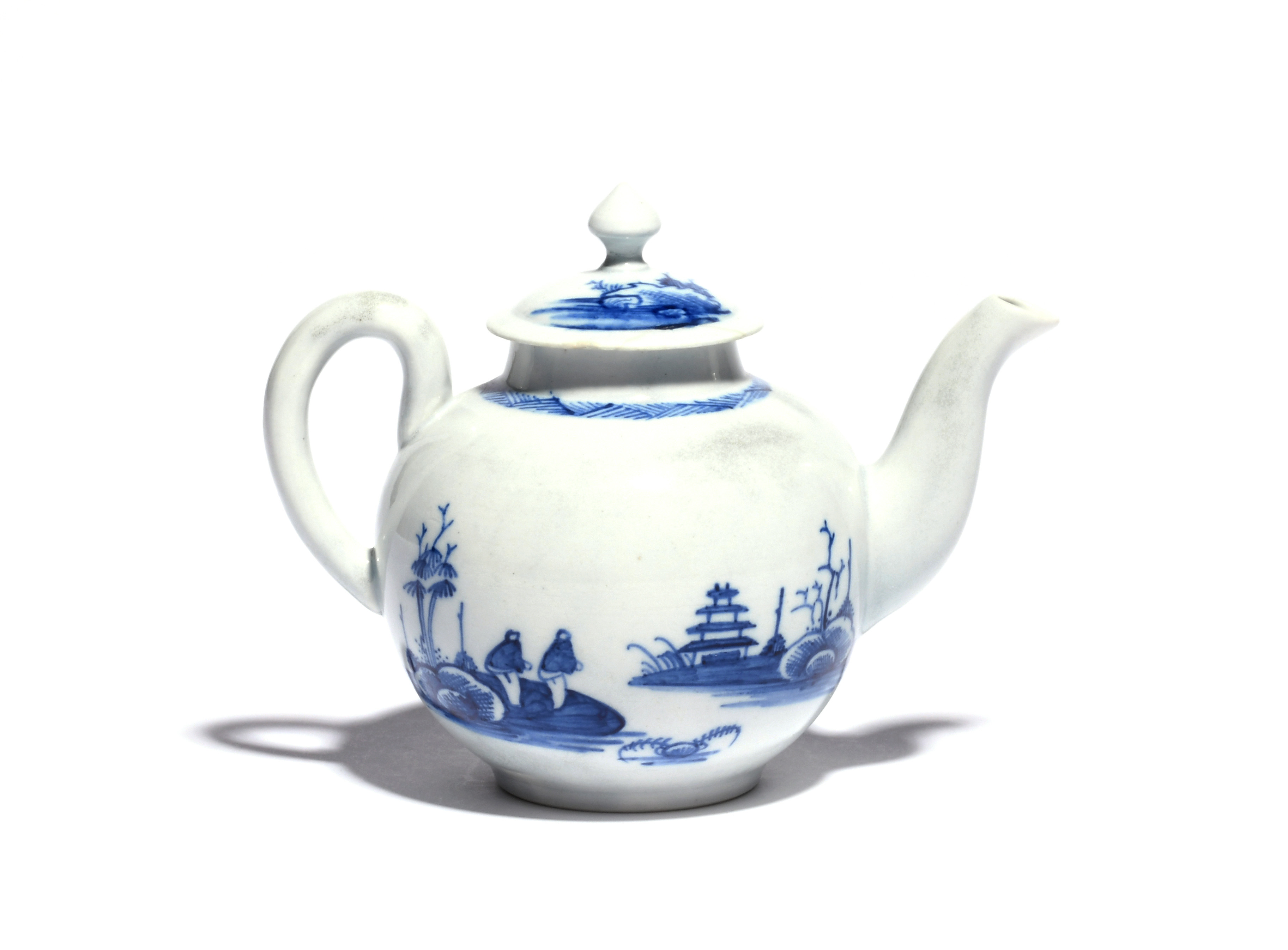 A Richard Chaffers (Liverpool) blue and white teapot and cover c.1758-60, the small globular form