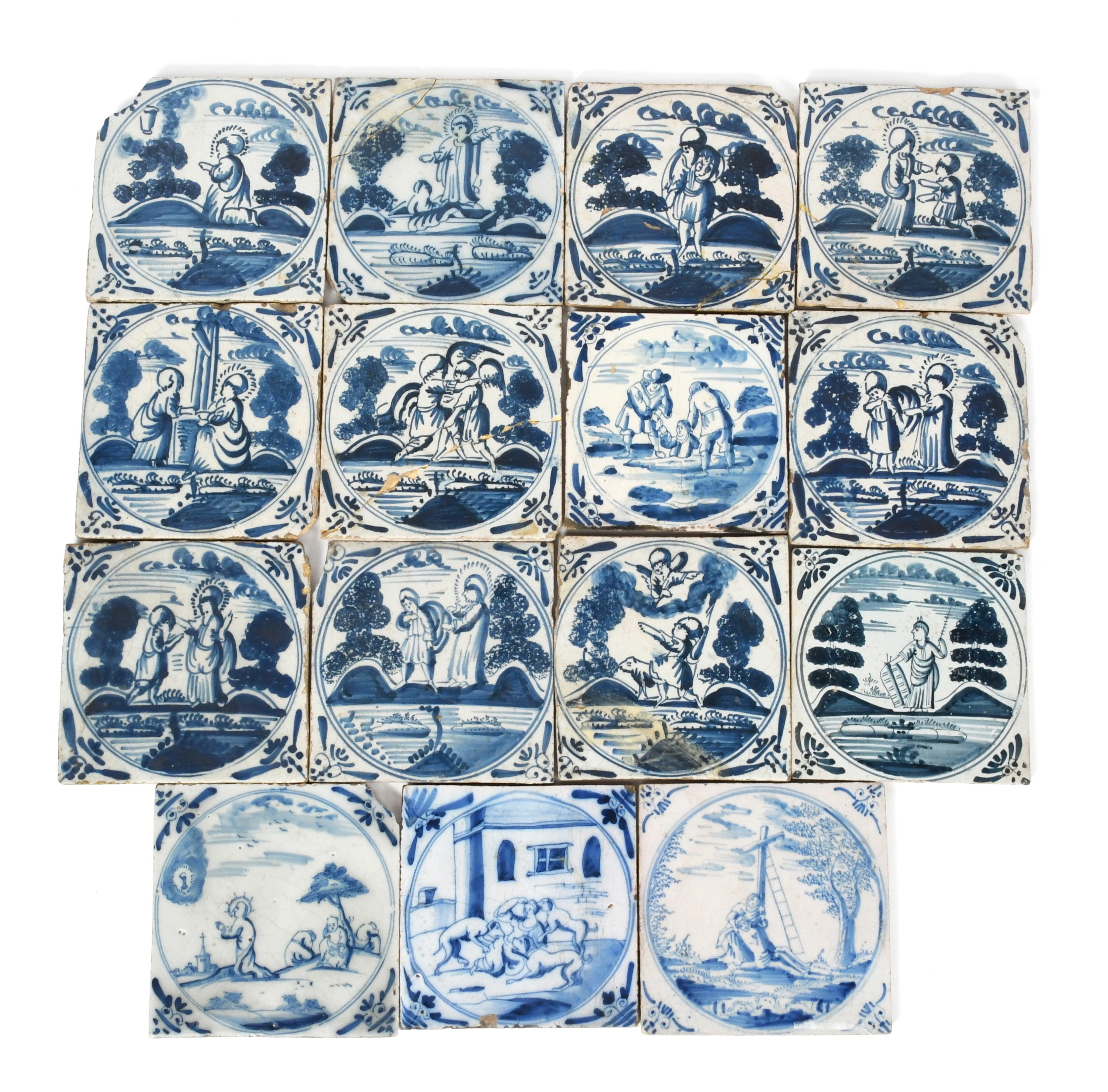 Fifteen Delft Biblical tiles c.1700-40, Dutch and English, painted in blue with varying scenes