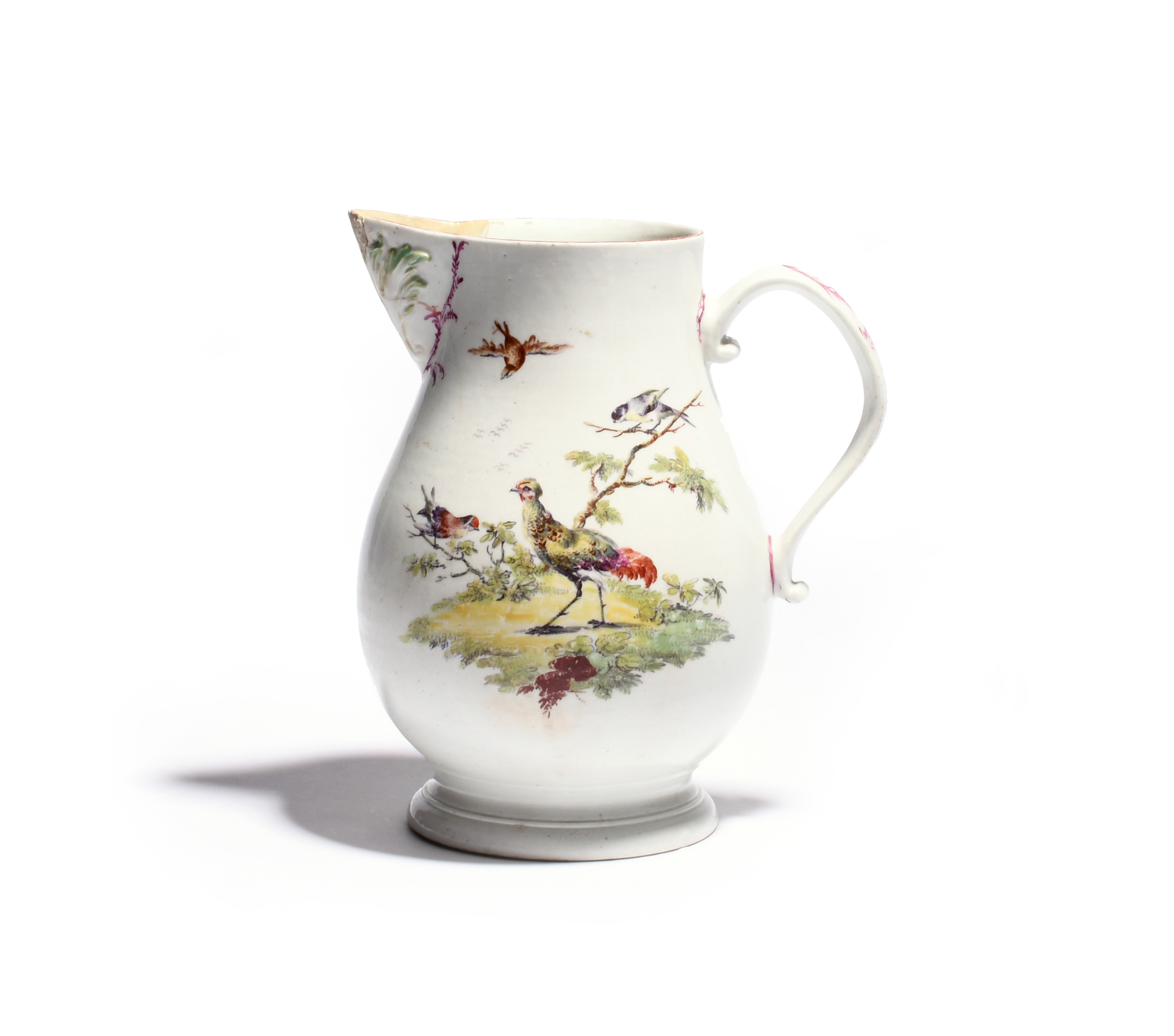 A large Derby cider jug c.1760, painted to one side with a fancy bird strutting before low